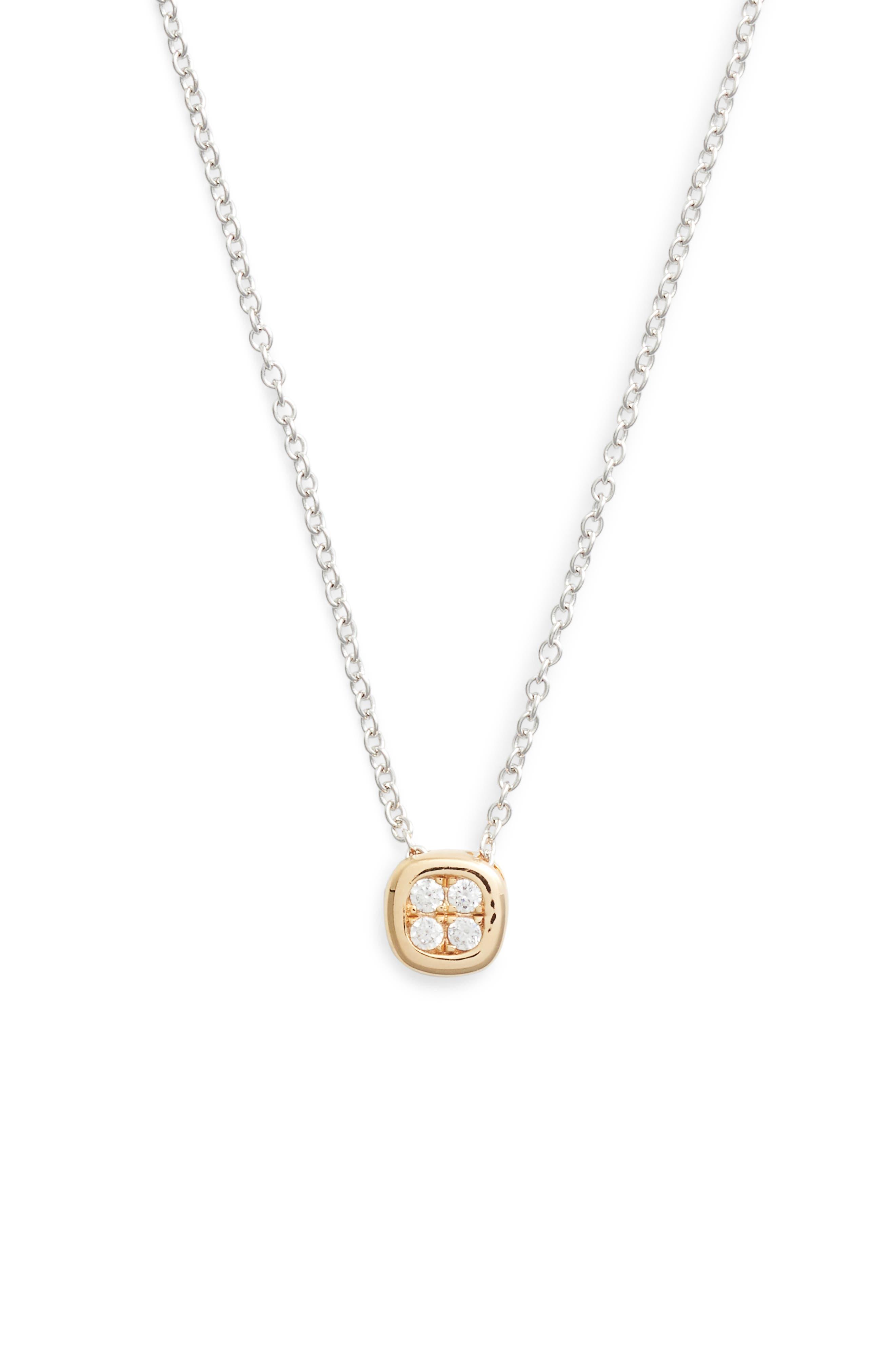 Pavé Pendant Necklace,                         Main,                         color, Silver/ Gold/ Clear