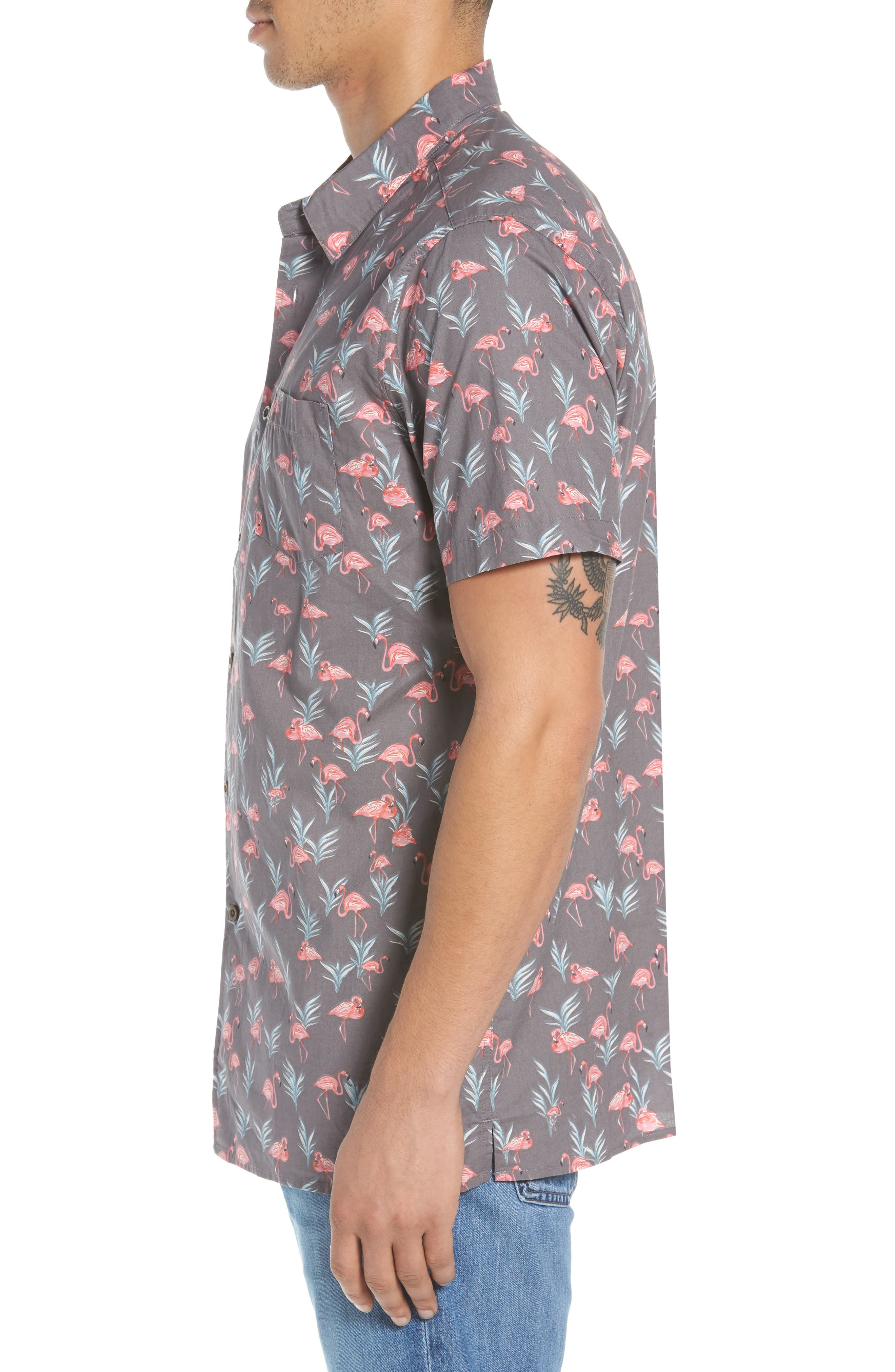 Flaminko Woven Shirt,                             Alternate thumbnail 4, color,                             Black