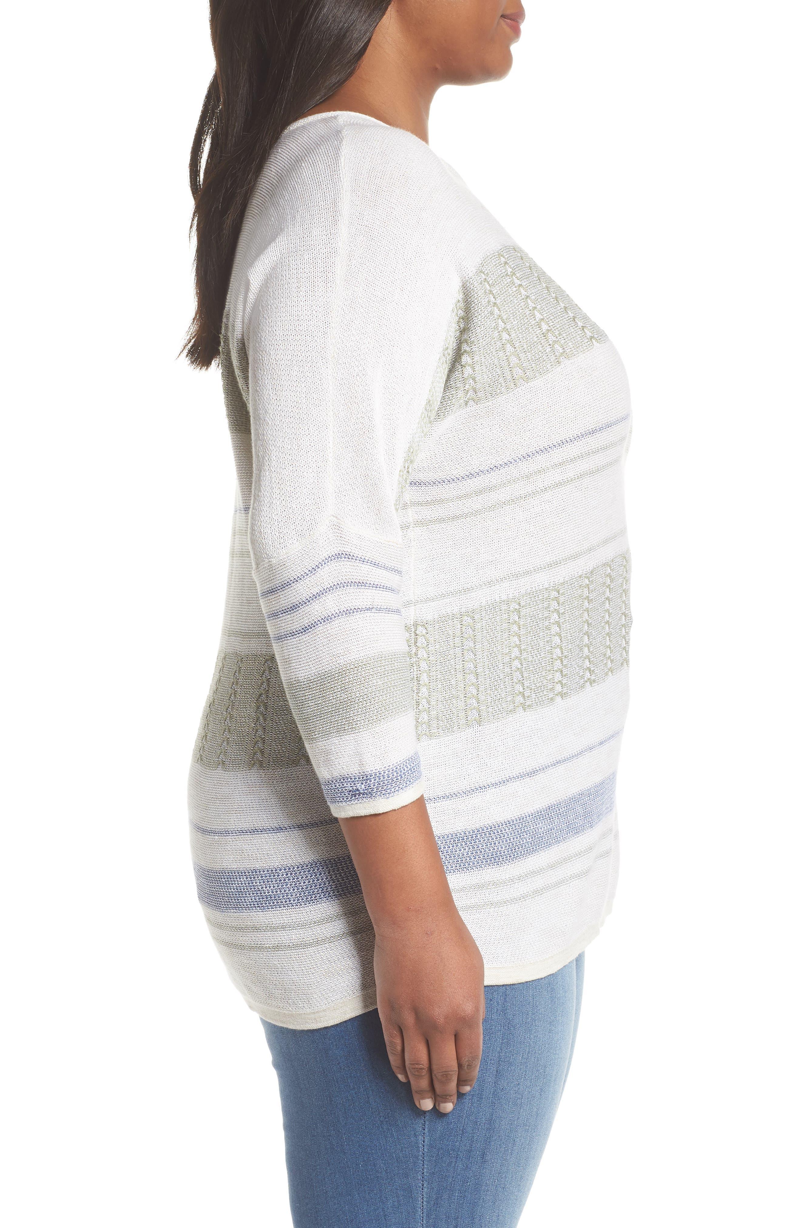 Juniper Fringe Stripe Linen Blend Sweater,                             Alternate thumbnail 3, color,                             Multi