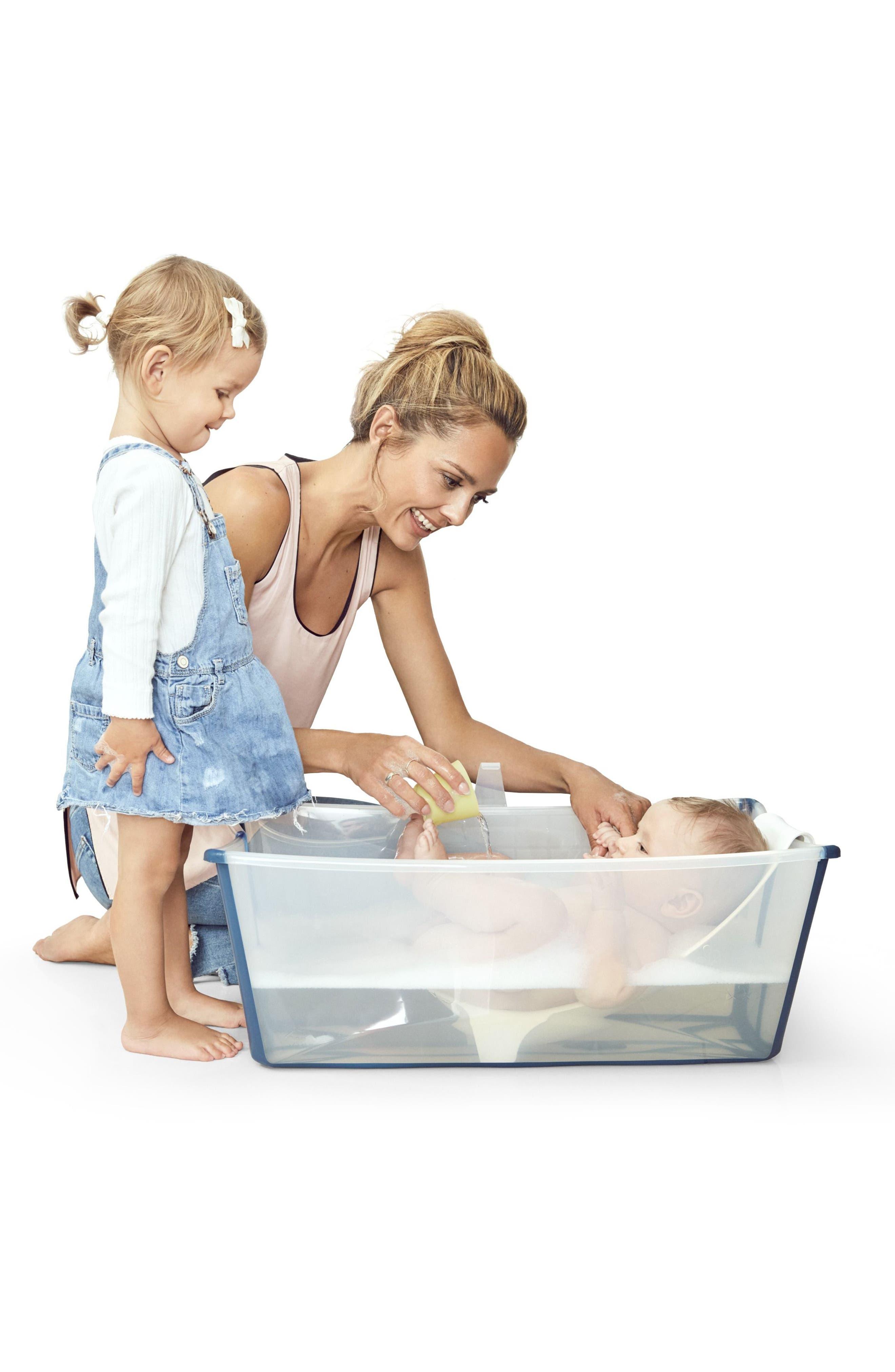 Flexi Bath<sup>®</sup> Foldable Baby Bath Tub with Newborn Support,                             Alternate thumbnail 3, color,                             Transparent Blue