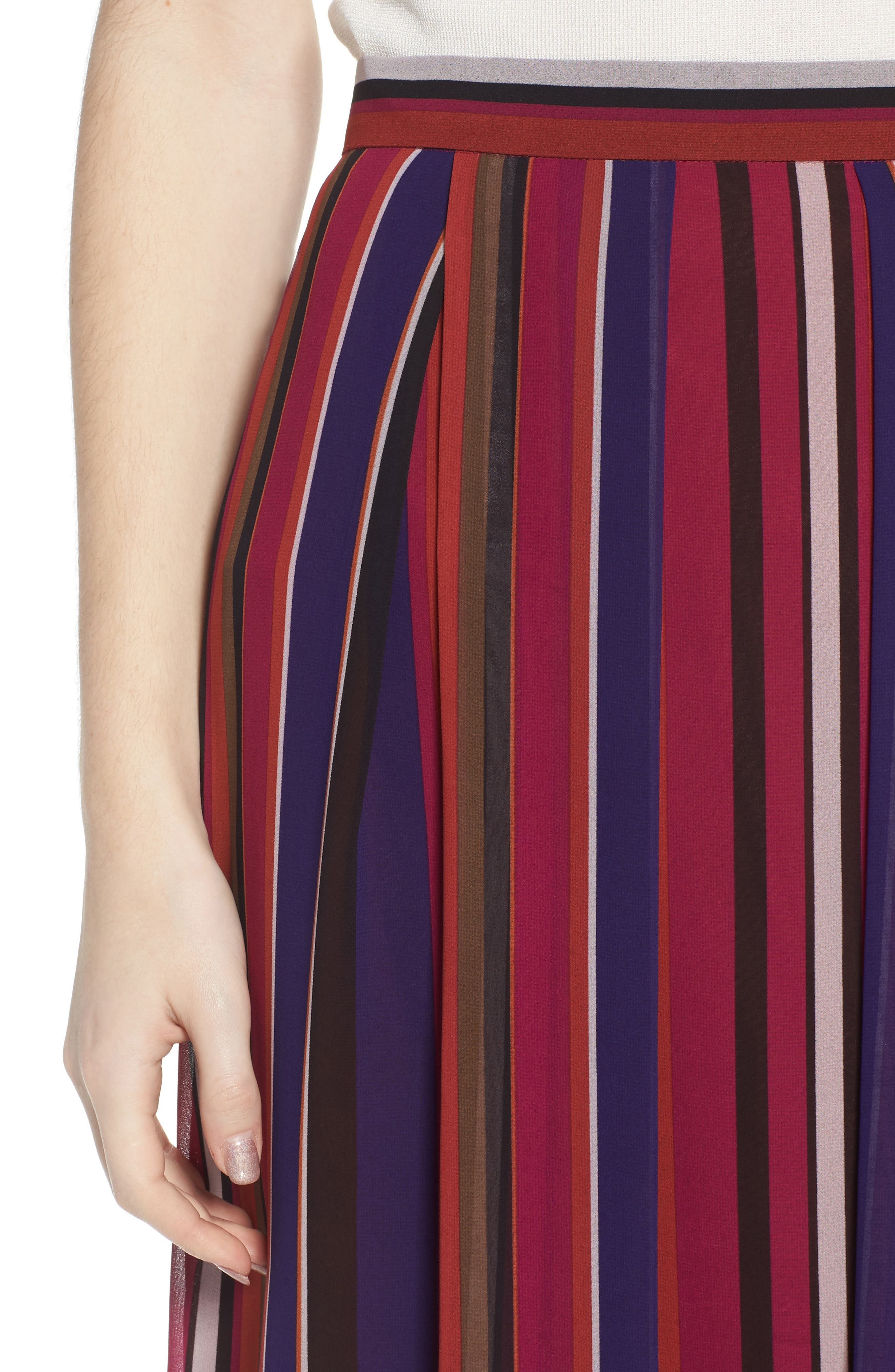 Striped Midi Skirt,                             Alternate thumbnail 4, color,                             African Violet Combo