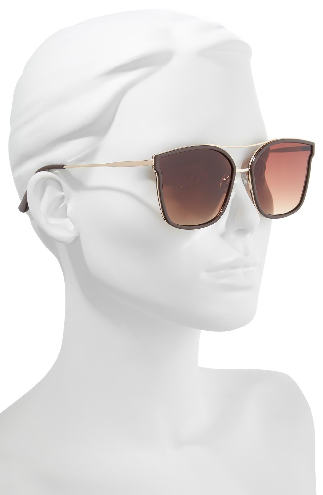 60mm Cat Eye Sunglasses,                             Alternate thumbnail 2, color,                             Gold/ Brown