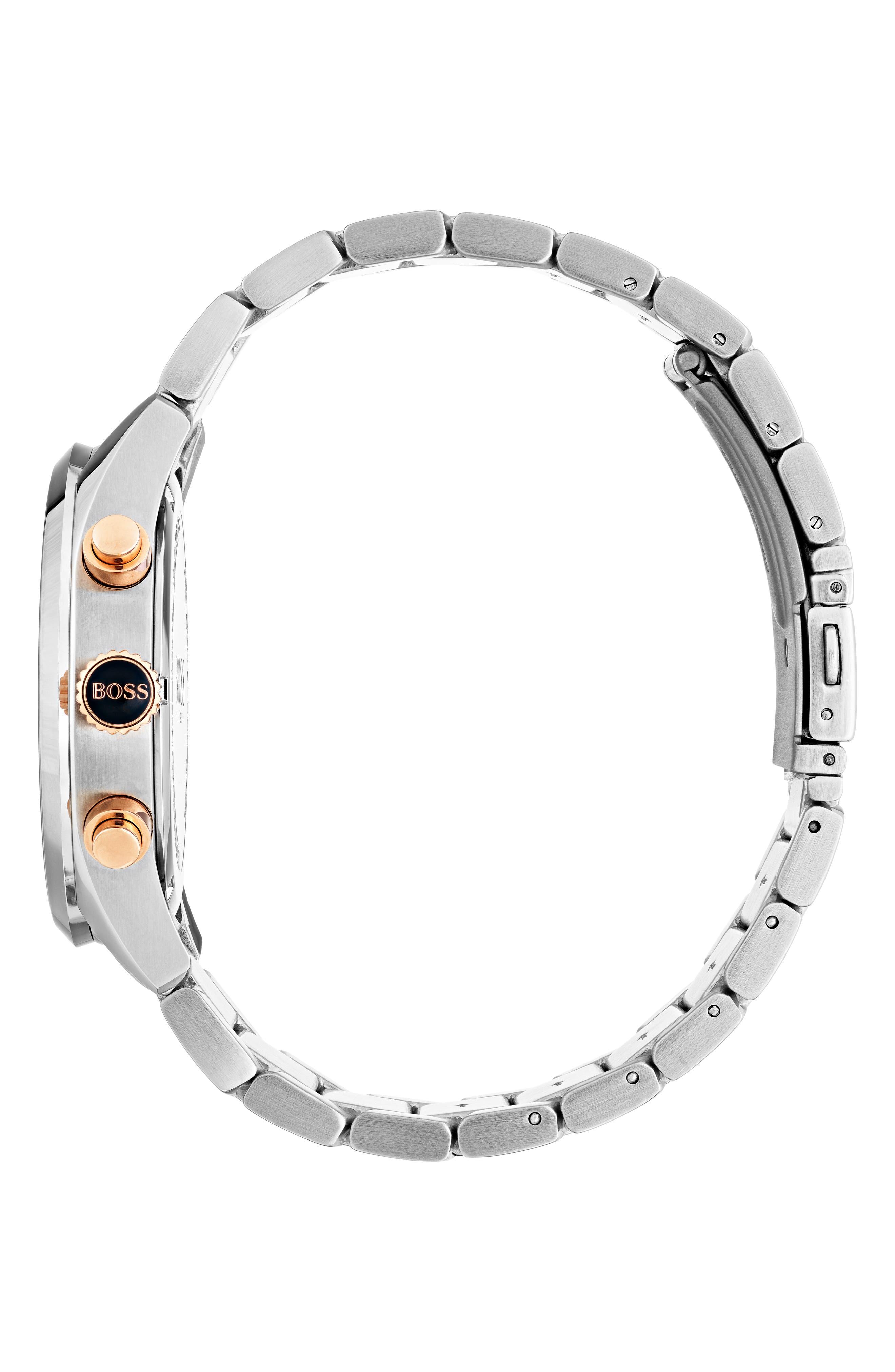Grand Prix Chronograph Bracelet Watch, 44mm,                             Alternate thumbnail 3, color,                             Black/ Silver