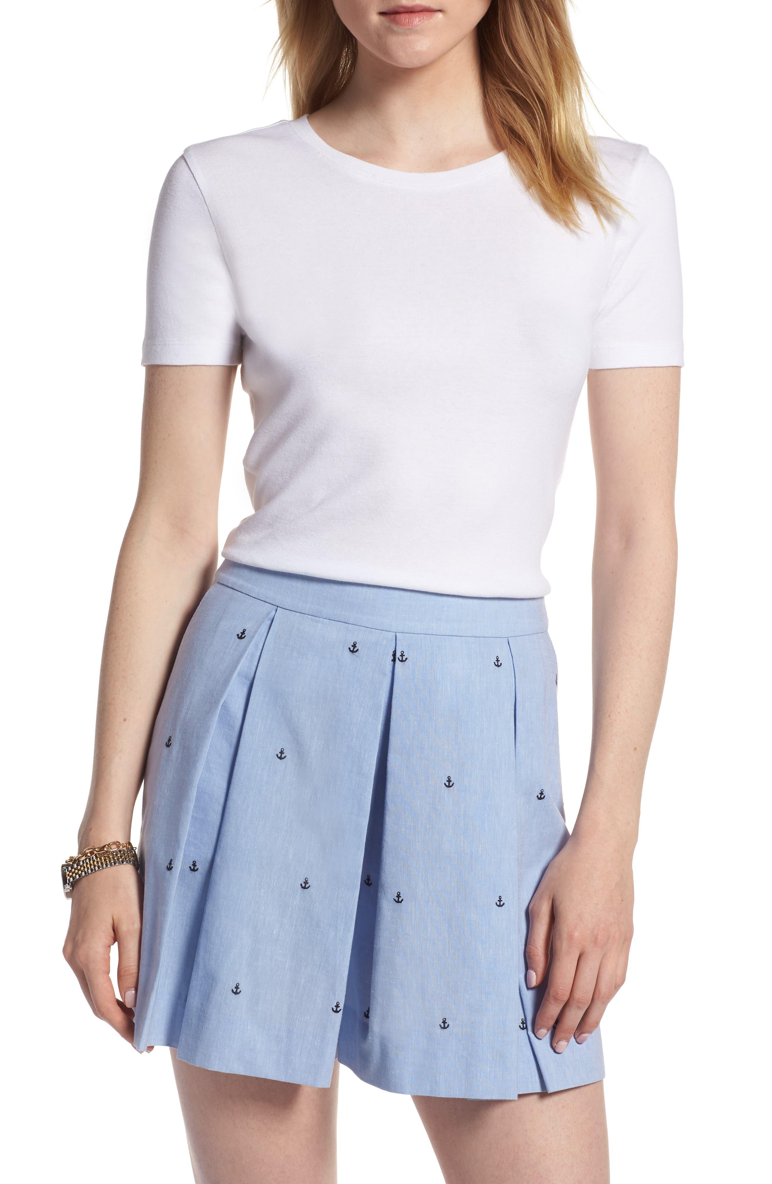 Crewneck Cotton Blend Top,                         Main,                         color, White