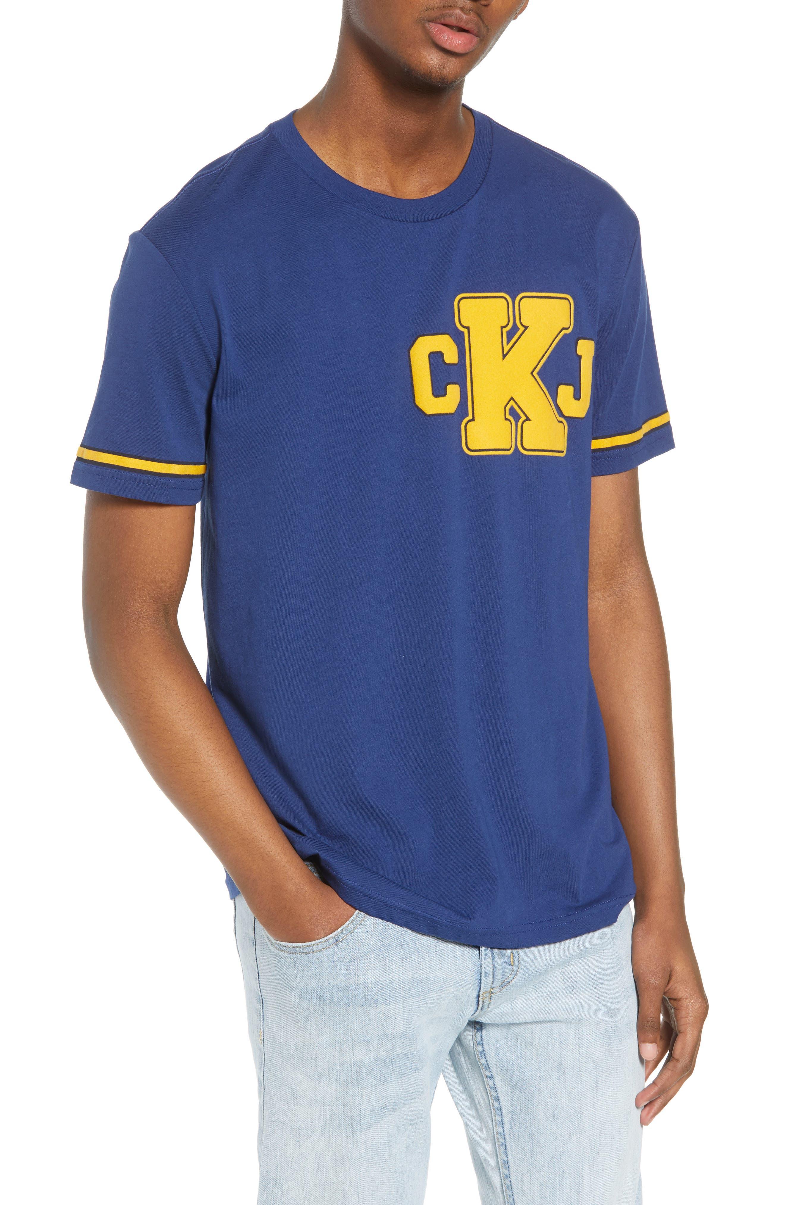 Calvin Klein Varsity T-Shirt,                             Main thumbnail 1, color,                             Ink Stone