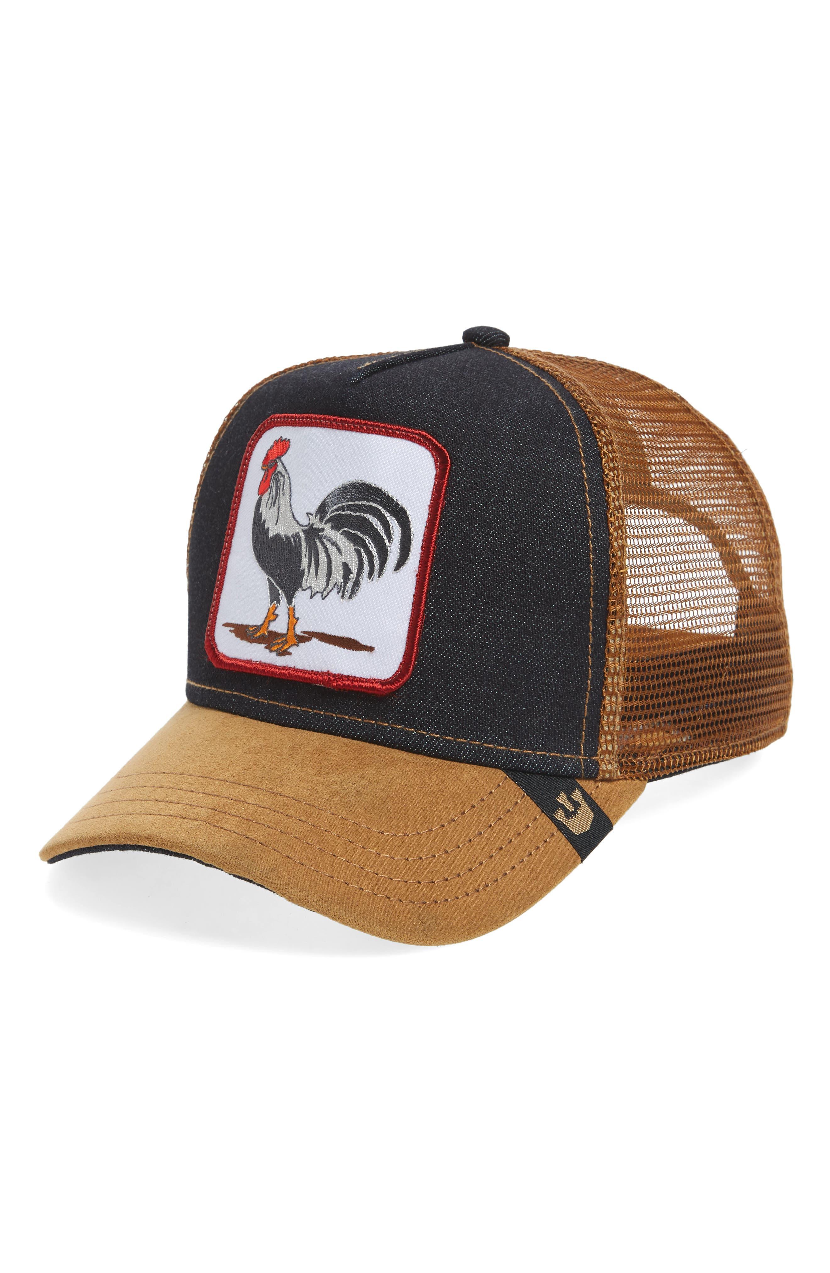 Long Crower Trucker Hat,                             Main thumbnail 1, color,                             Whiskey