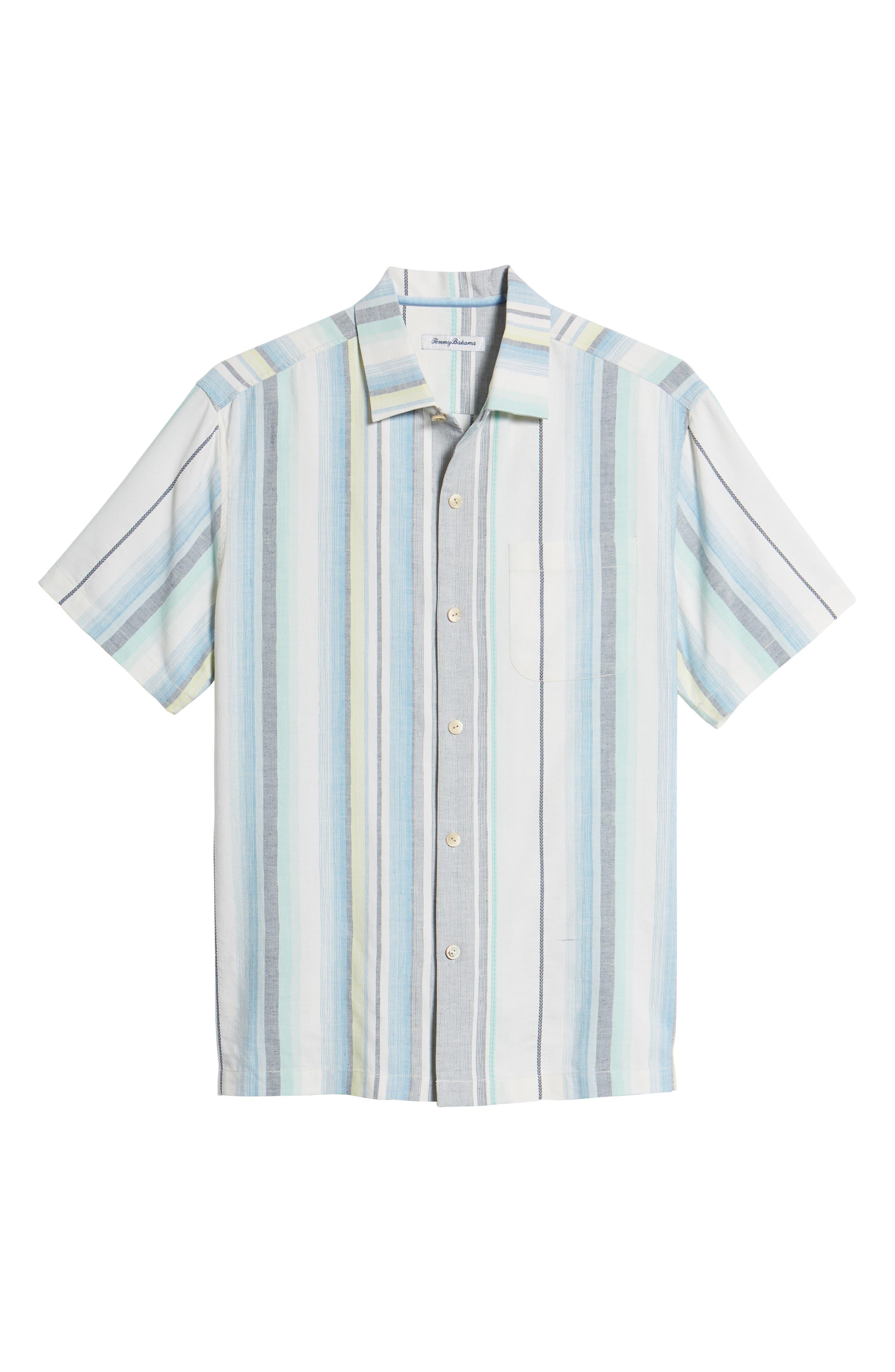 Posado Sands Silk Camp Shirt,                             Alternate thumbnail 6, color,                             Blue Aster