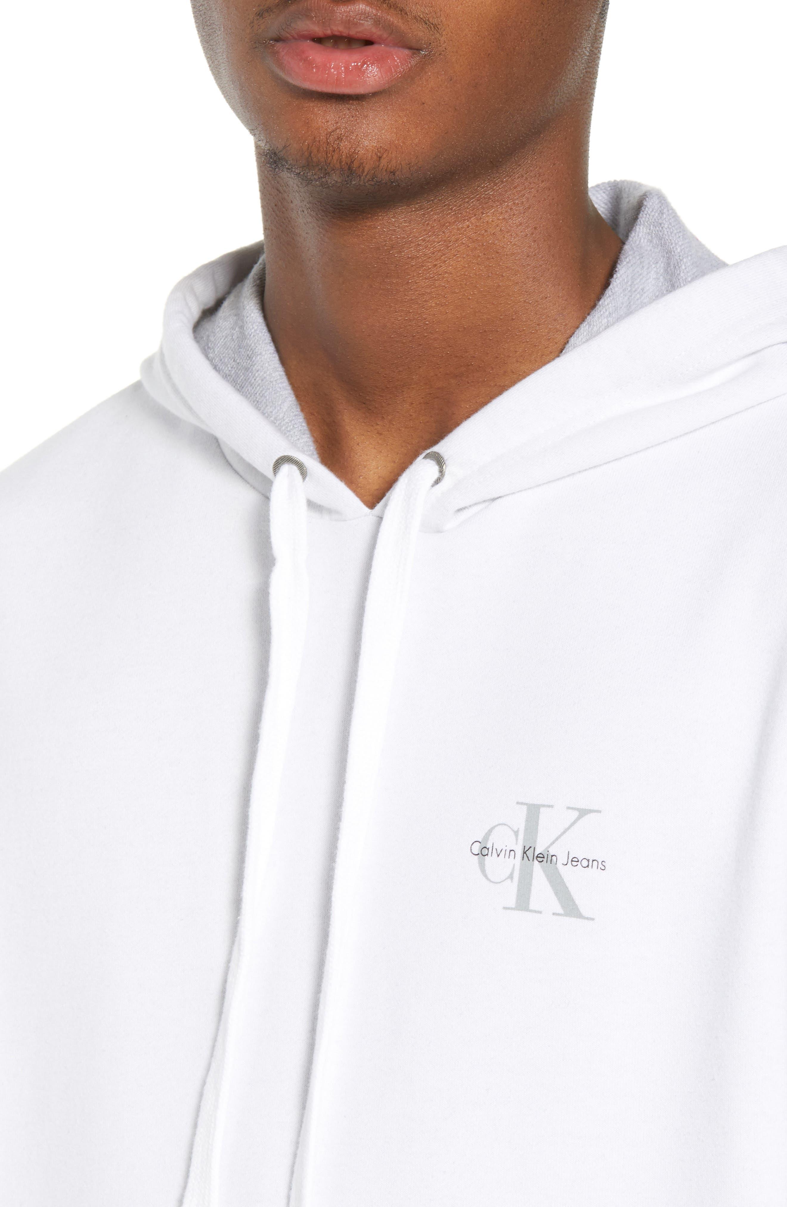 Calvin Klein Sleeveless Hoodie,                             Alternate thumbnail 4, color,                             Standard White