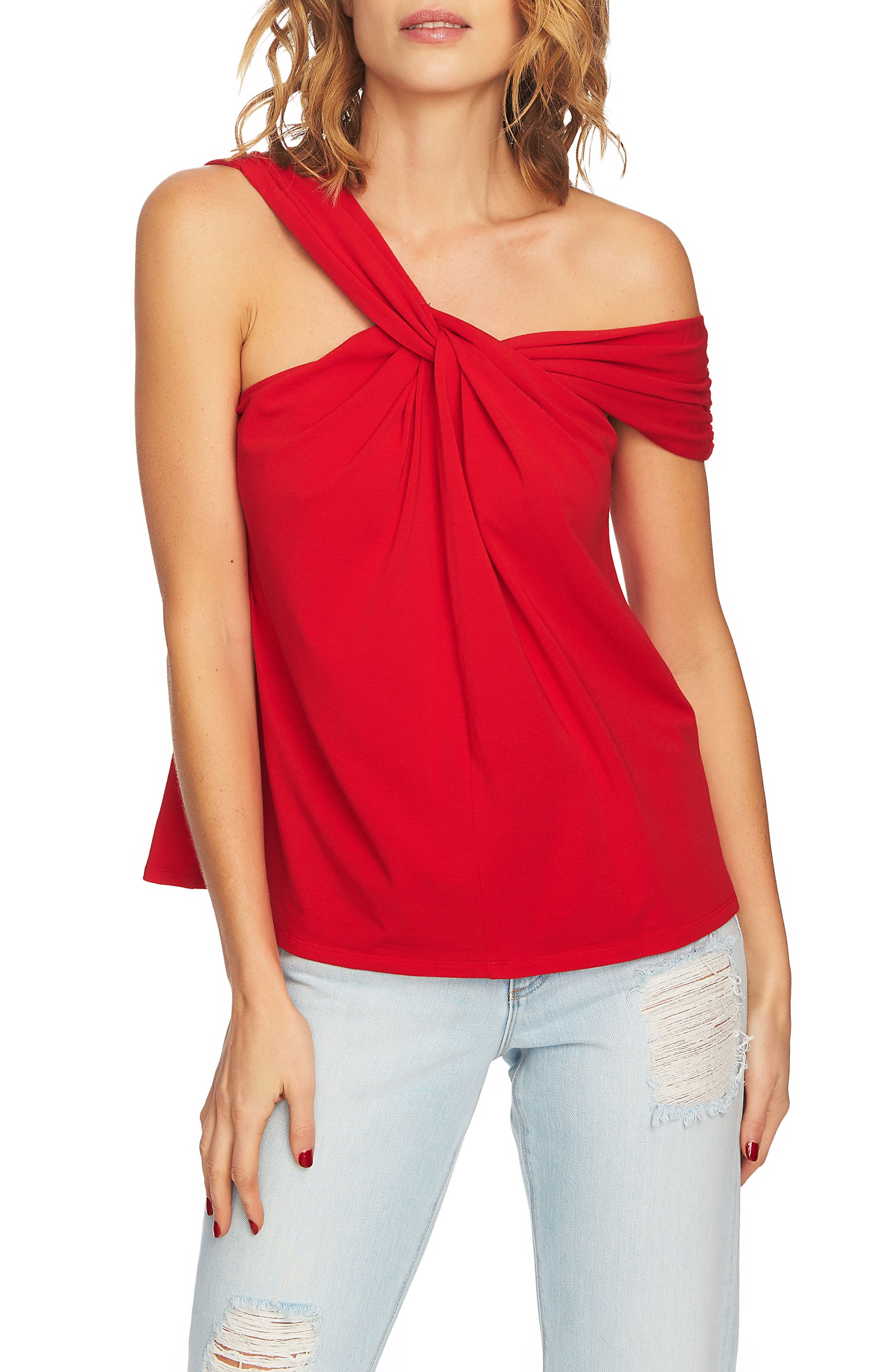 1.STATE Twist Front One-Shoulder Top