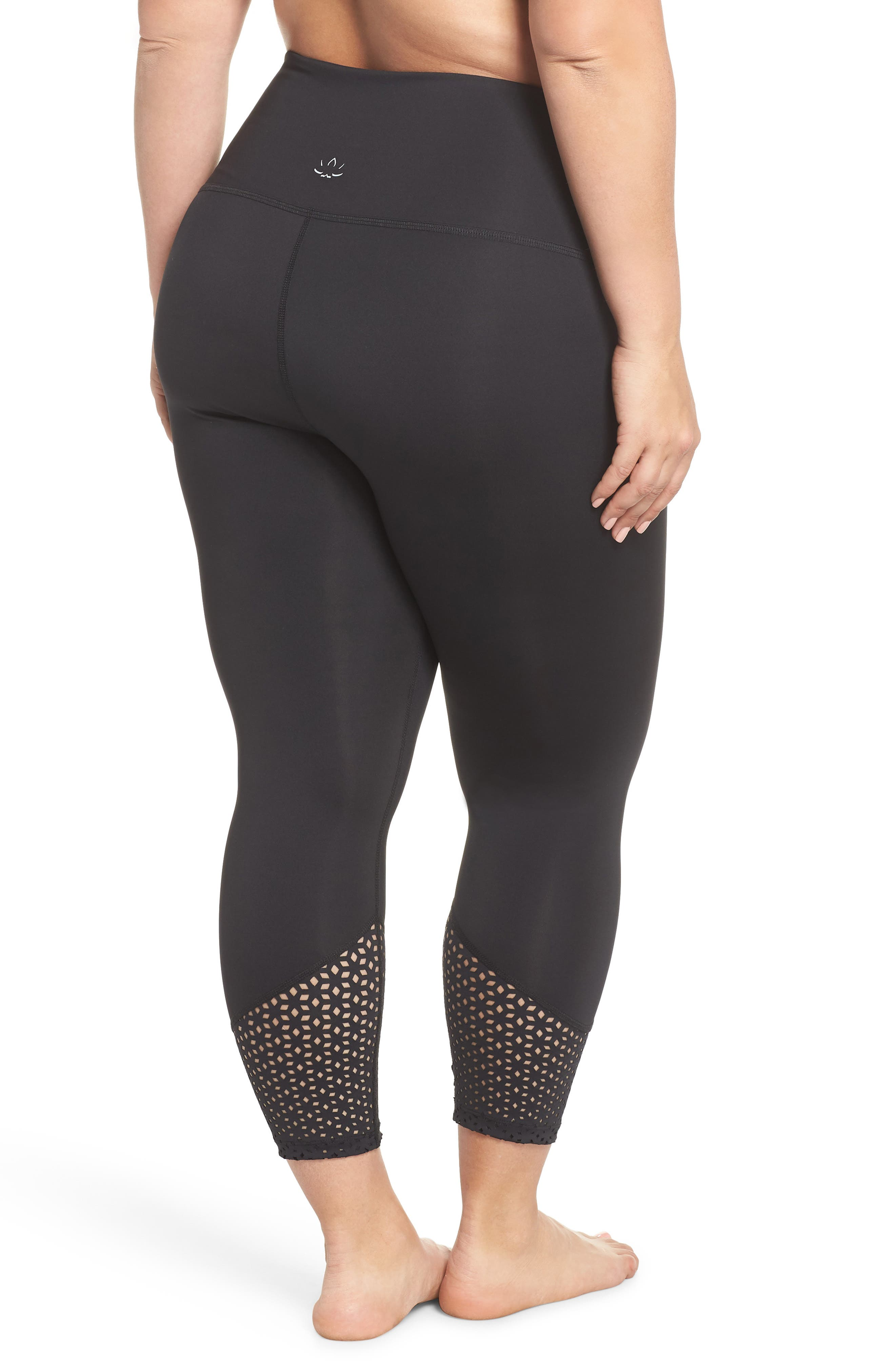 Perfect Angles High Waist Leggings,                             Alternate thumbnail 2, color,                             Black