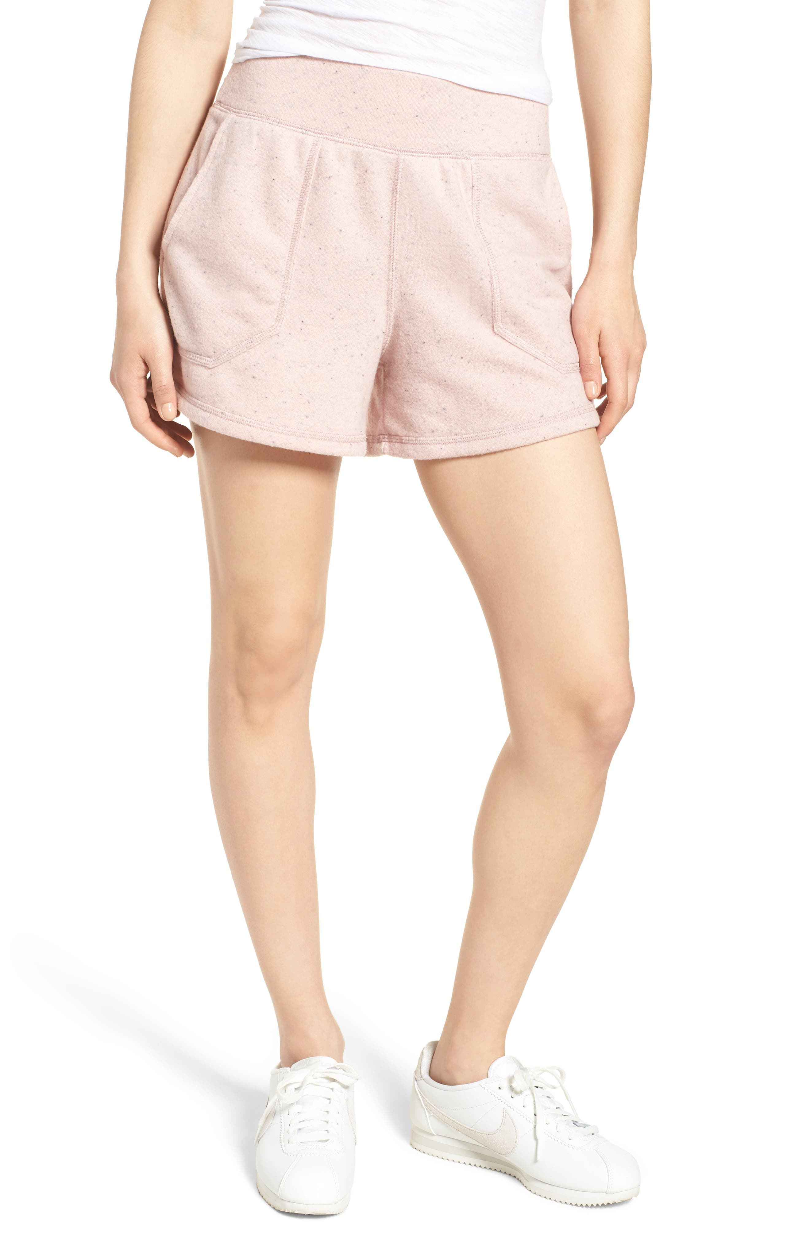 Off-Duty French Terry Shorts,                             Main thumbnail 1, color,                             Pink Smoke