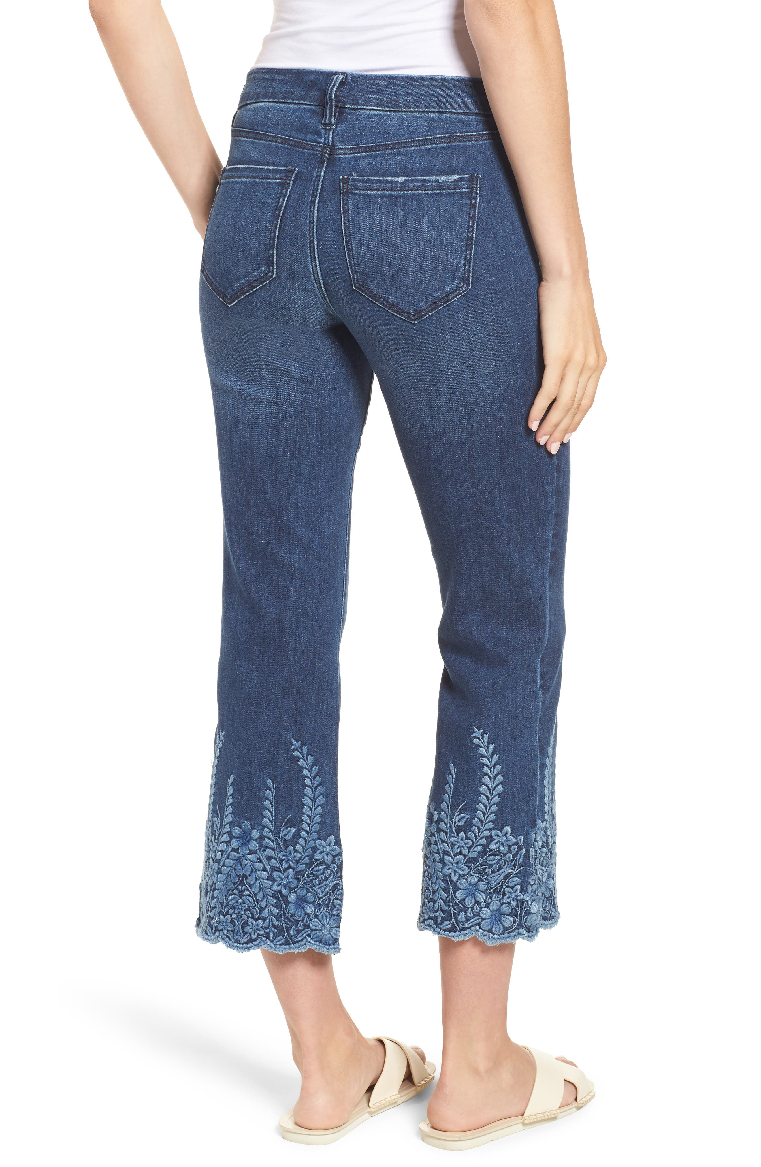 LVPL by Liverpool Coco Embroidered Hem Crop Jeans,                             Alternate thumbnail 3, color,                             Willow Wash