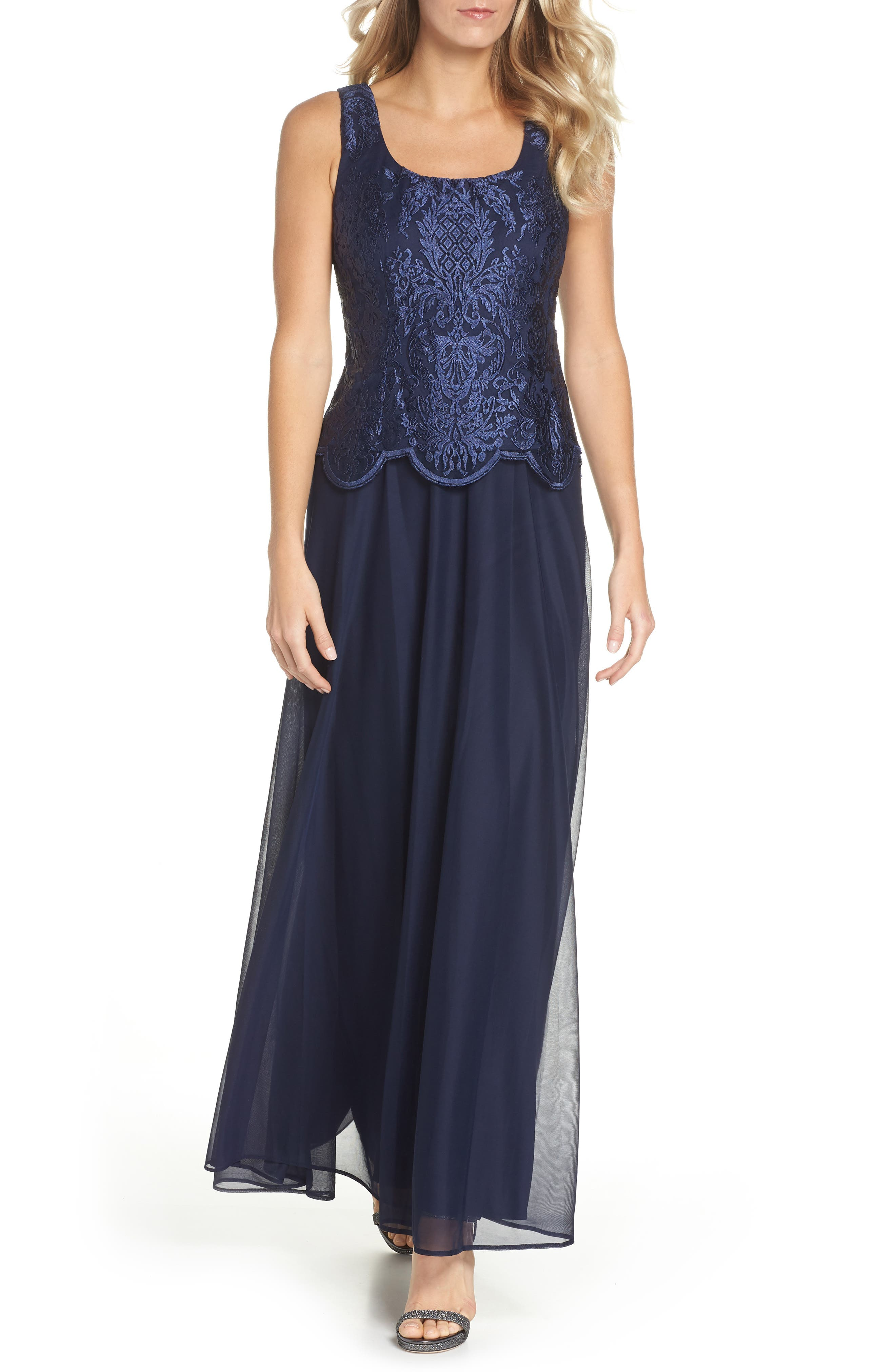 Alex Evenings Embroidered Gown & Jacket (Regular & Petite)