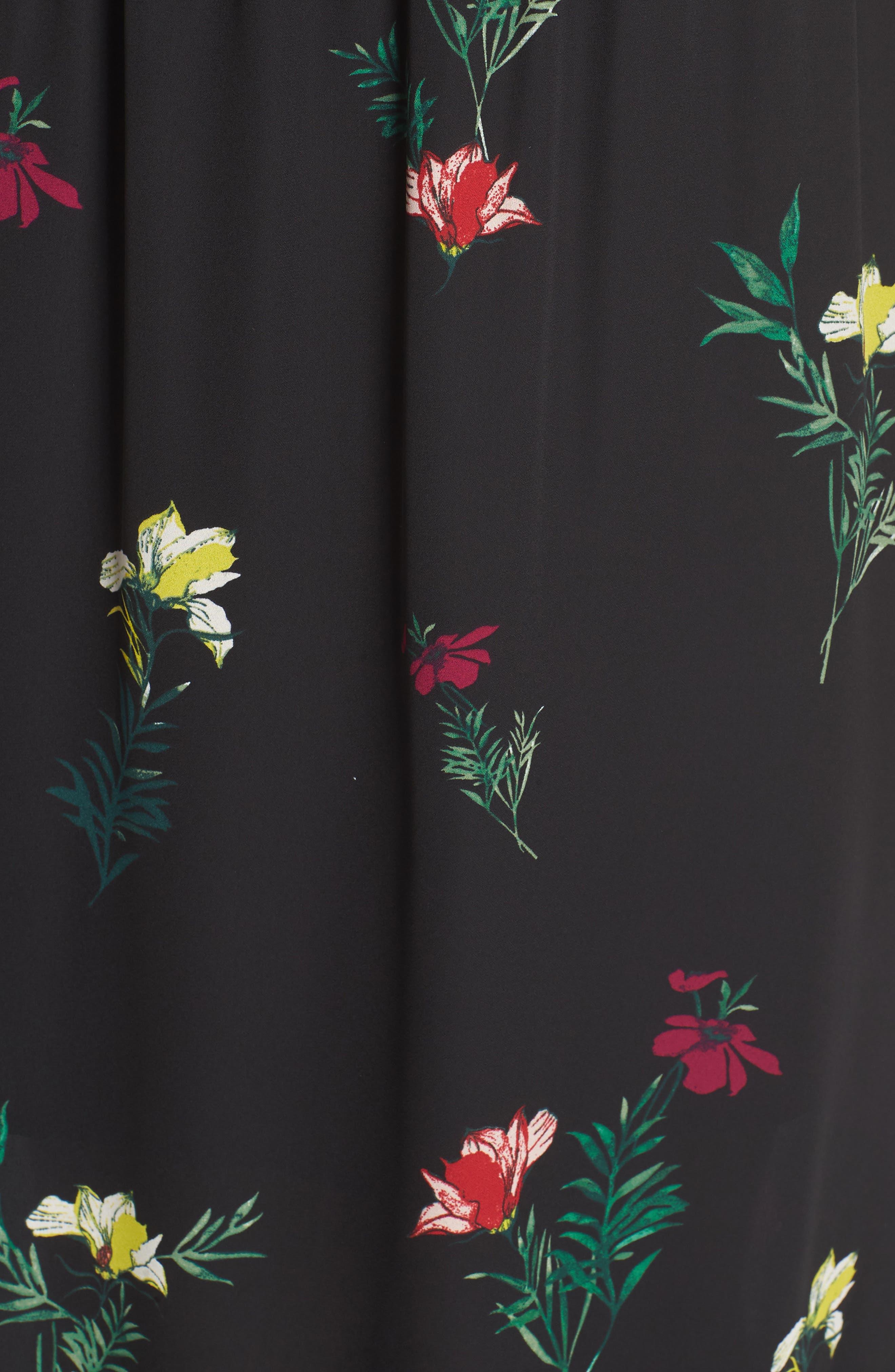 Tropical Garden Midi Dress,                             Alternate thumbnail 6, color,                             Rich Black