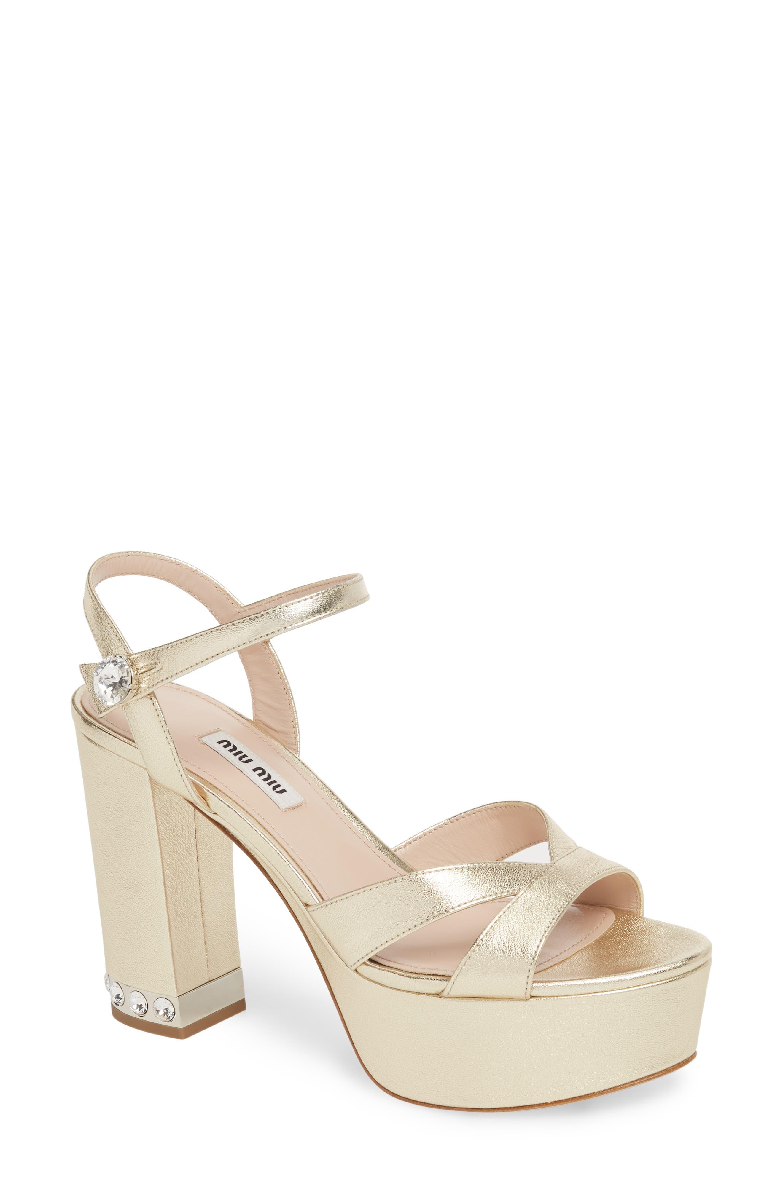 Miu Miu Jeweled Heel Platform Sandal (Women)