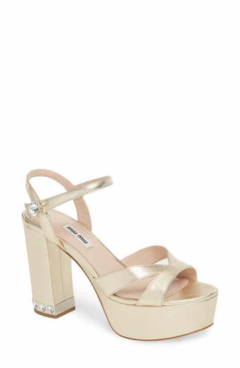 8042f451bfe Miu Miu Jeweled Heel Platform Sandal (Women)