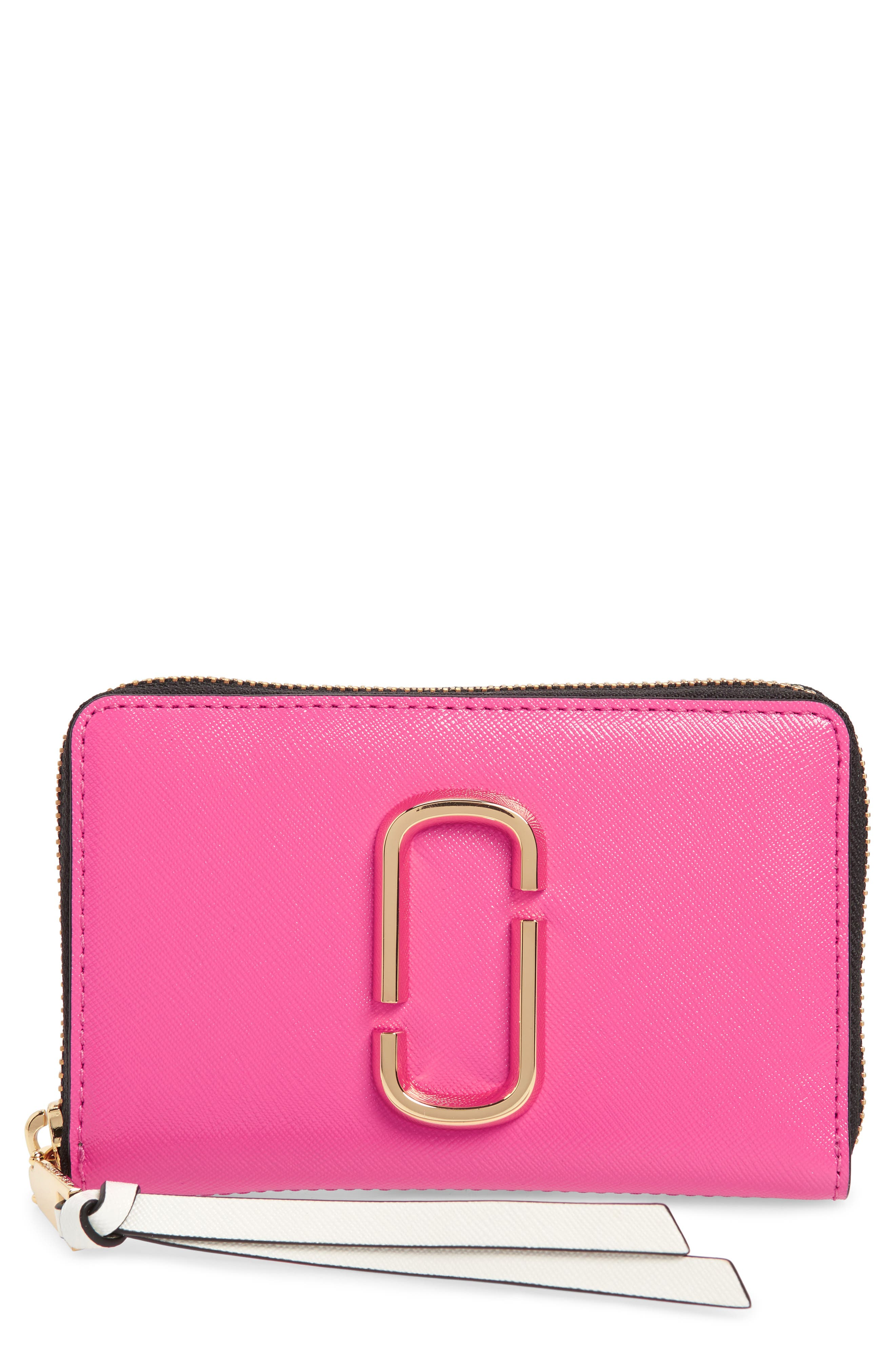 Small Snapshot Leather Zip-Around Wallet,                             Main thumbnail 1, color,                             Vivid Pink Multi