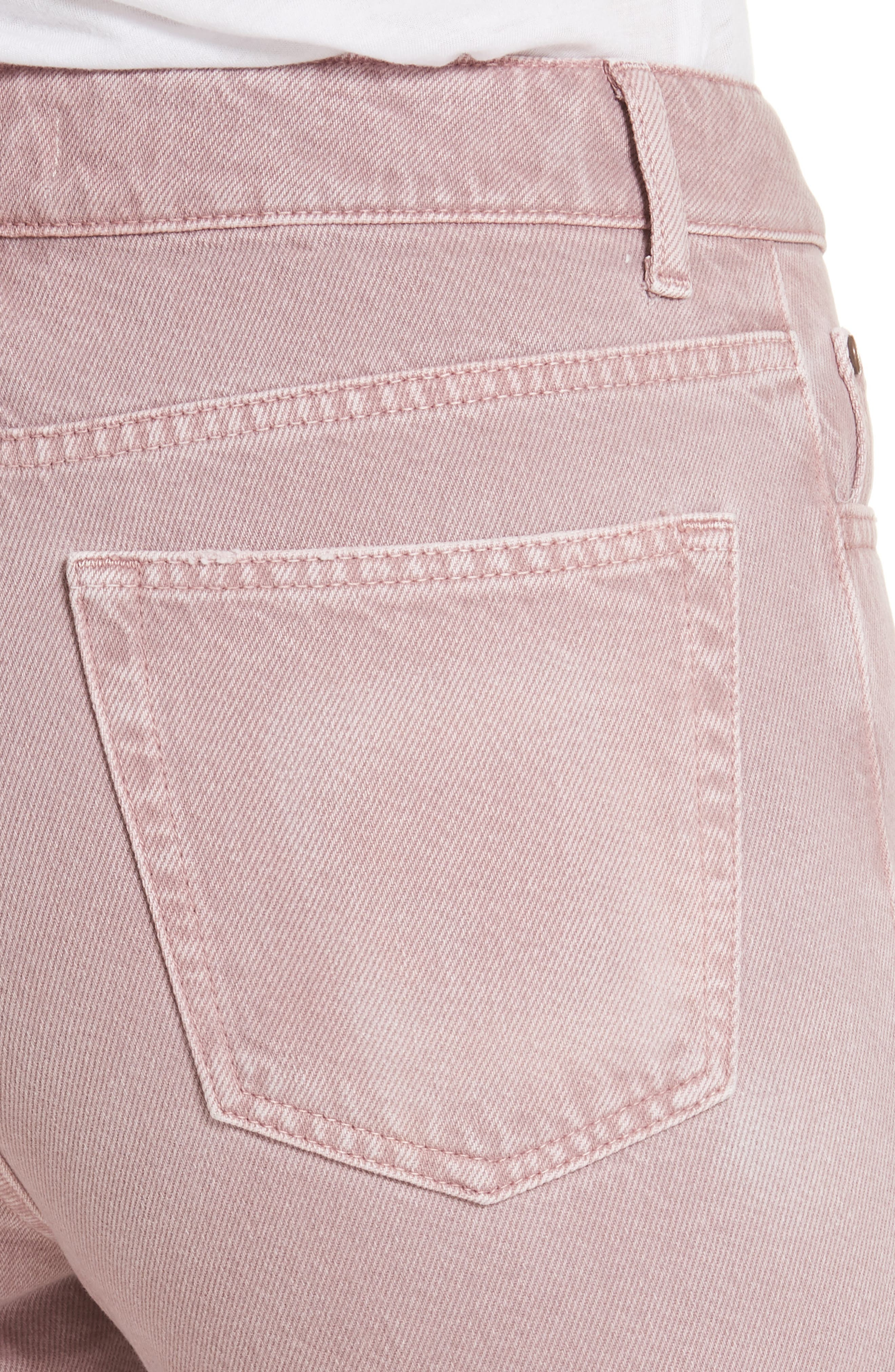 Ripped Raw Edge Jeans,                             Alternate thumbnail 5, color,                             Rose