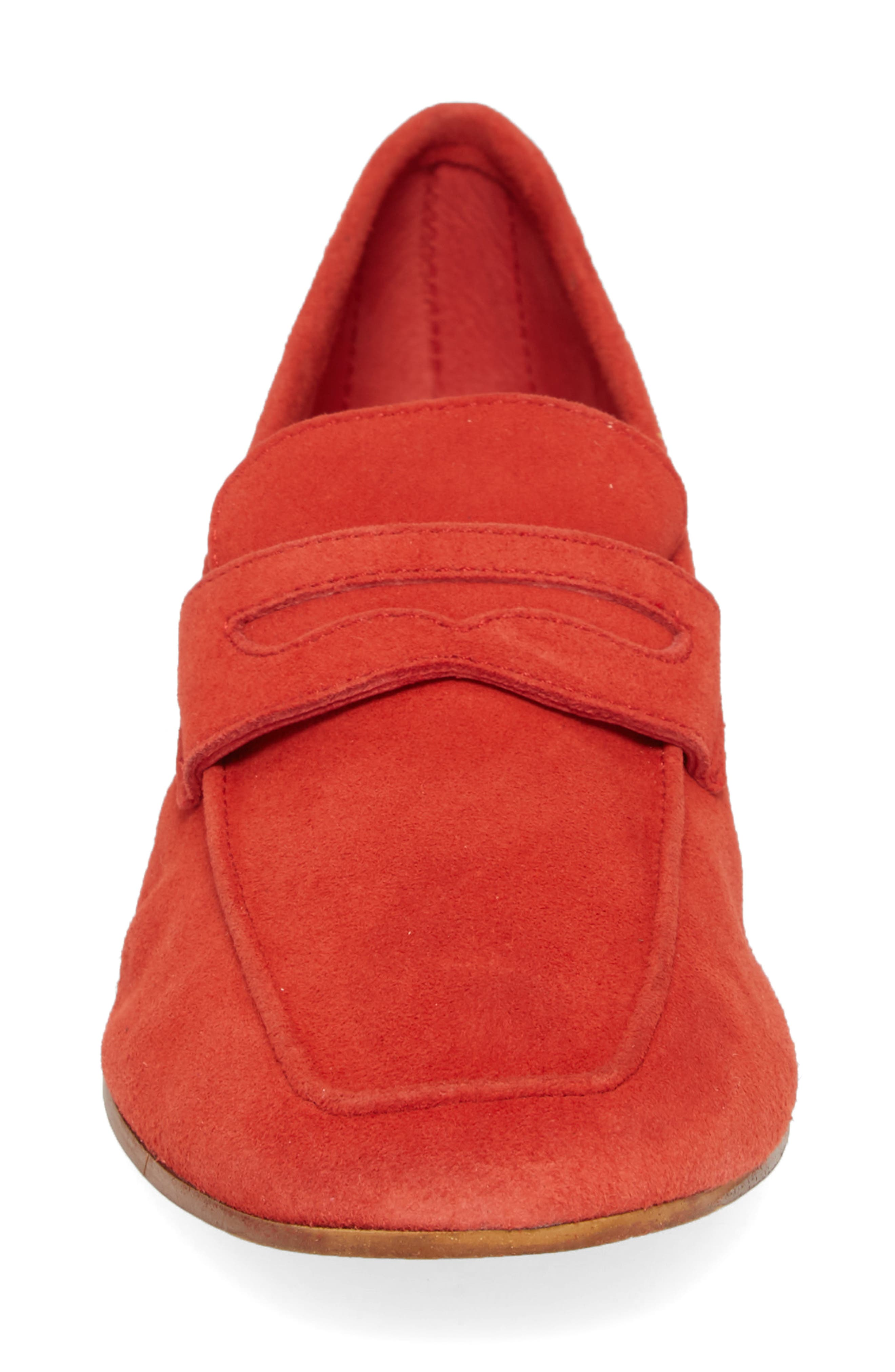 Dean Apron Toe Penny Loafer,                             Alternate thumbnail 4, color,                             Red Suede