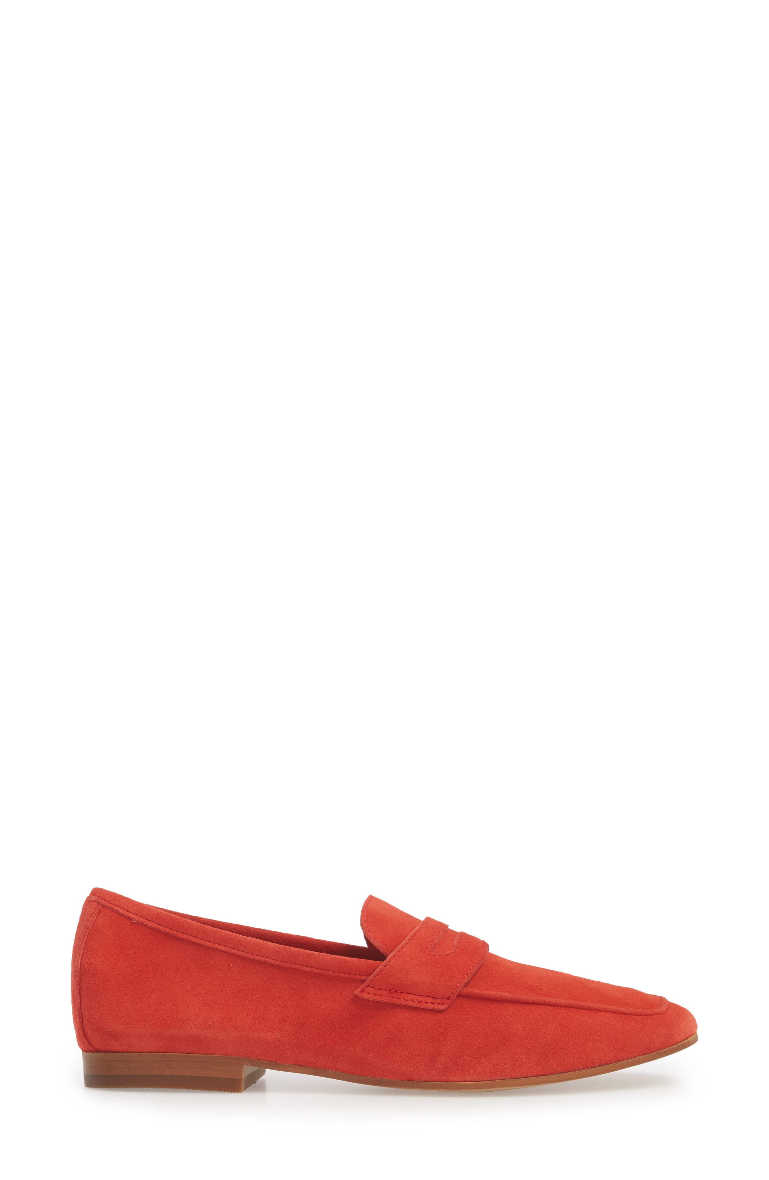 Dean Apron Toe Penny Loafer,                             Alternate thumbnail 3, color,                             Red Suede