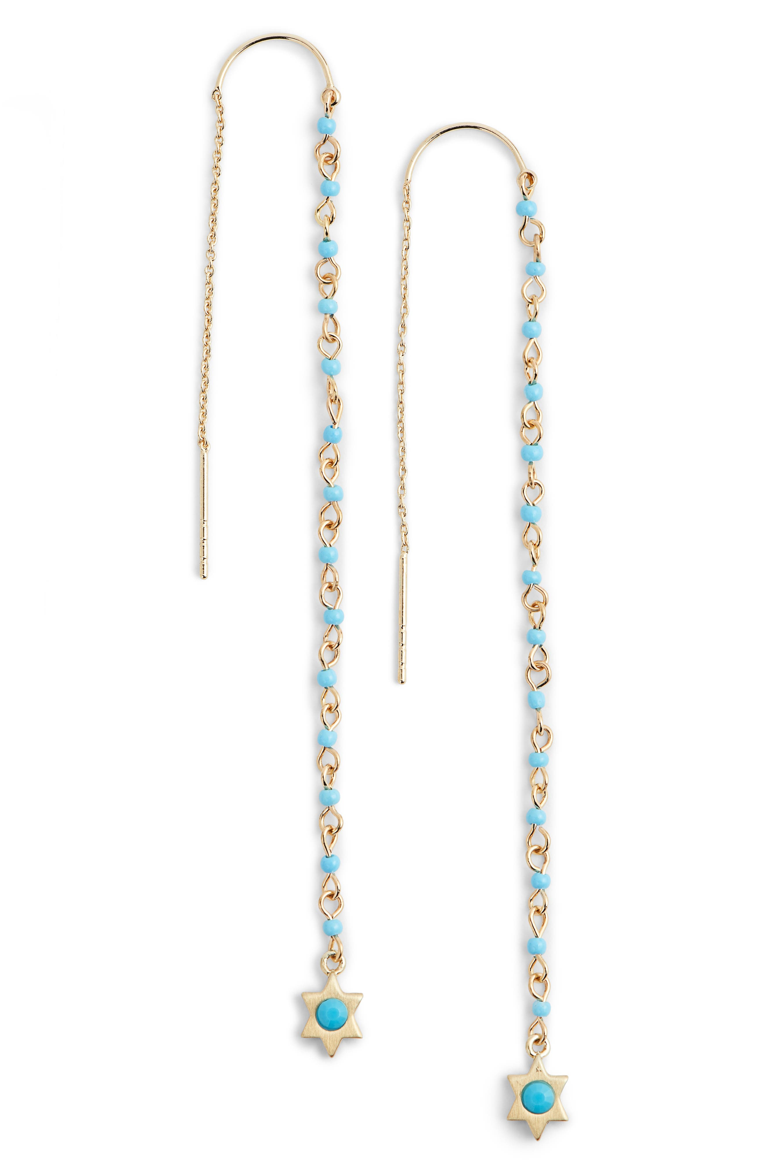 Linear Beaded Threader Earrings,                             Main thumbnail 1, color,                             Turquoise/ Gold