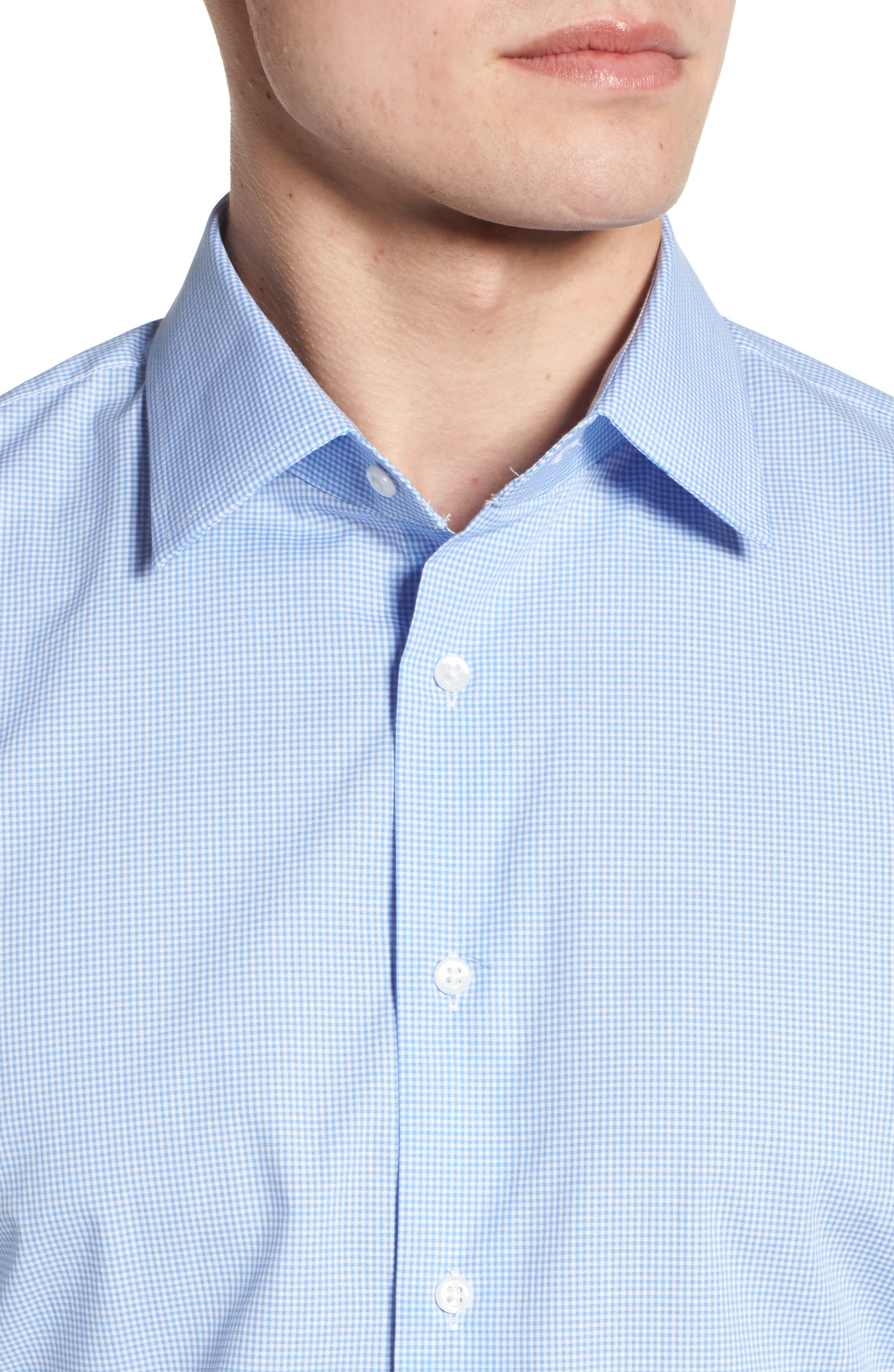 Traditional Fit Check Dress Shirt,                             Alternate thumbnail 2, color,                             Blue Cornflower