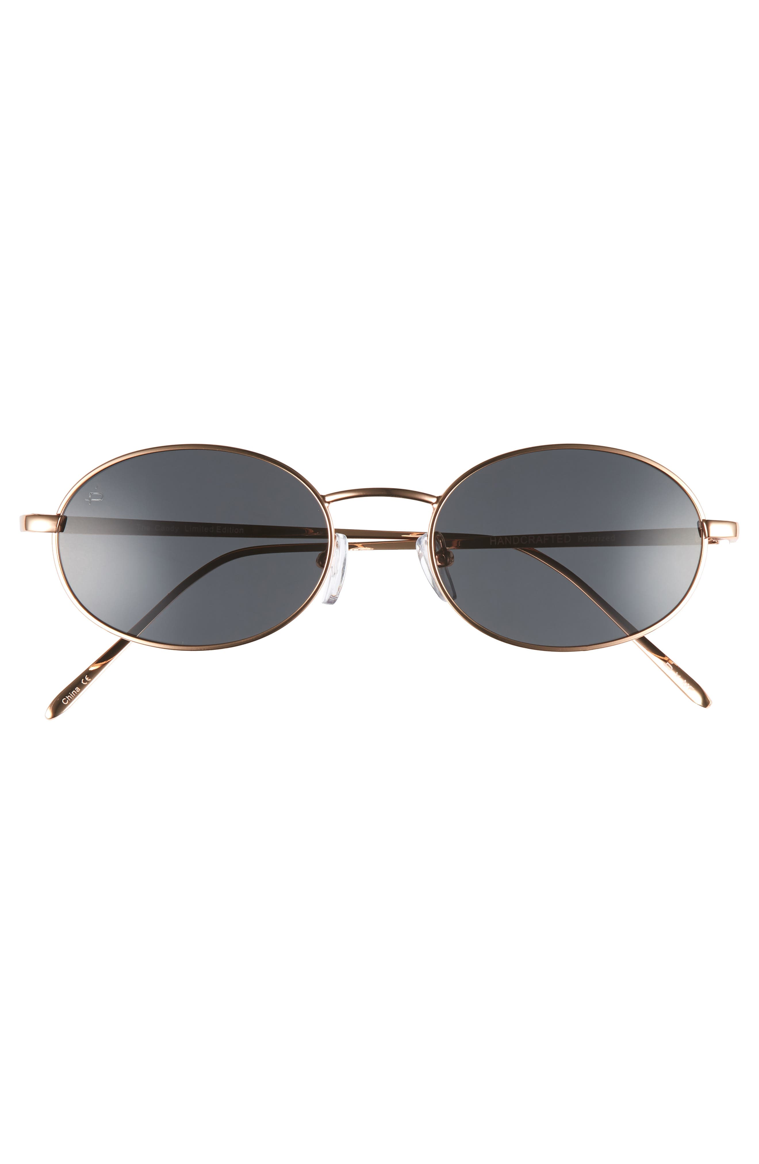 Privé Revaux x Madelaine Petsch The Candy 50mm Round Sunglasses,                             Alternate thumbnail 4, color,                             Gold/ Smoke
