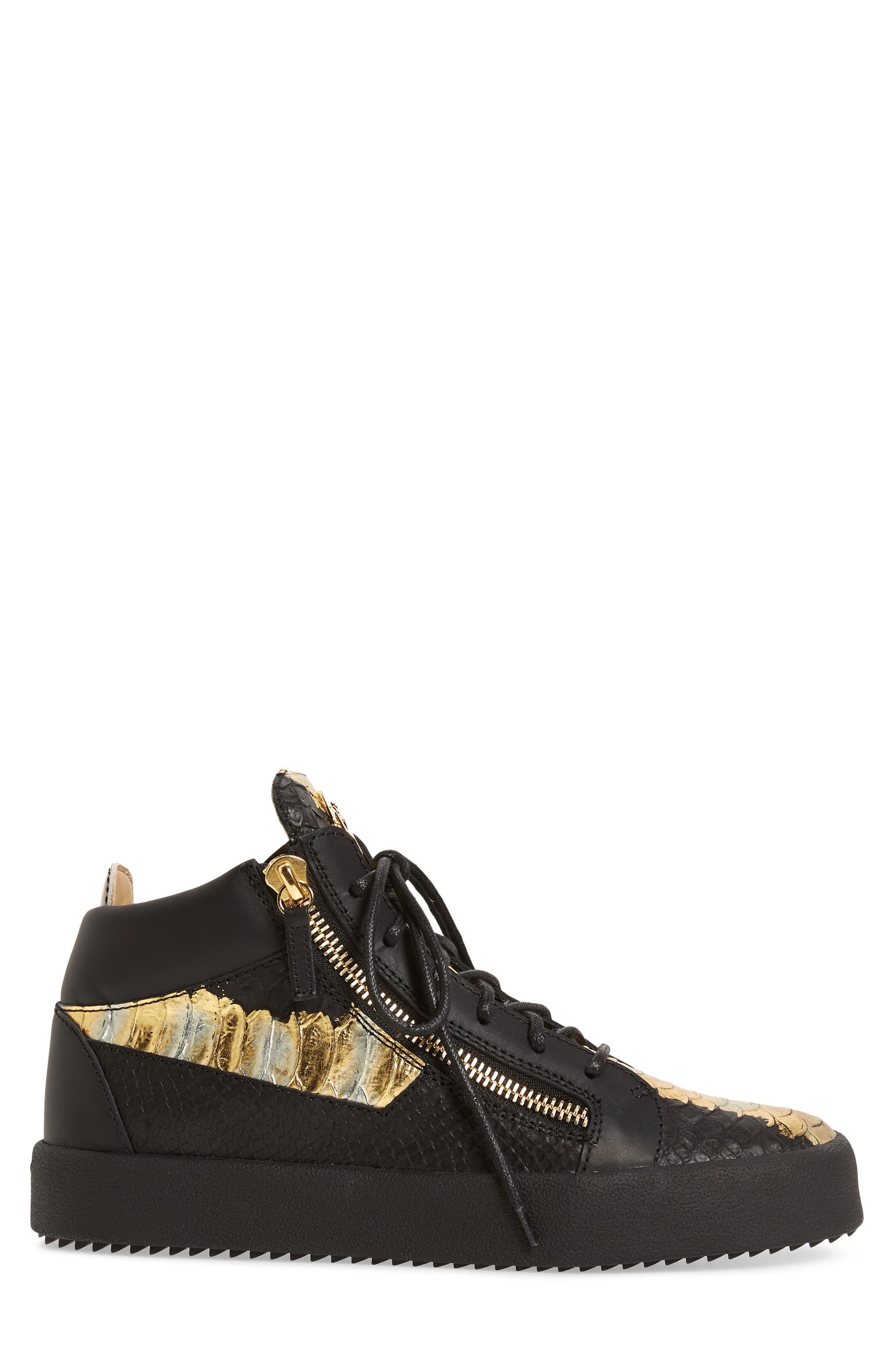 High-Top Sneaker,                             Alternate thumbnail 3, color,                             Black Leather