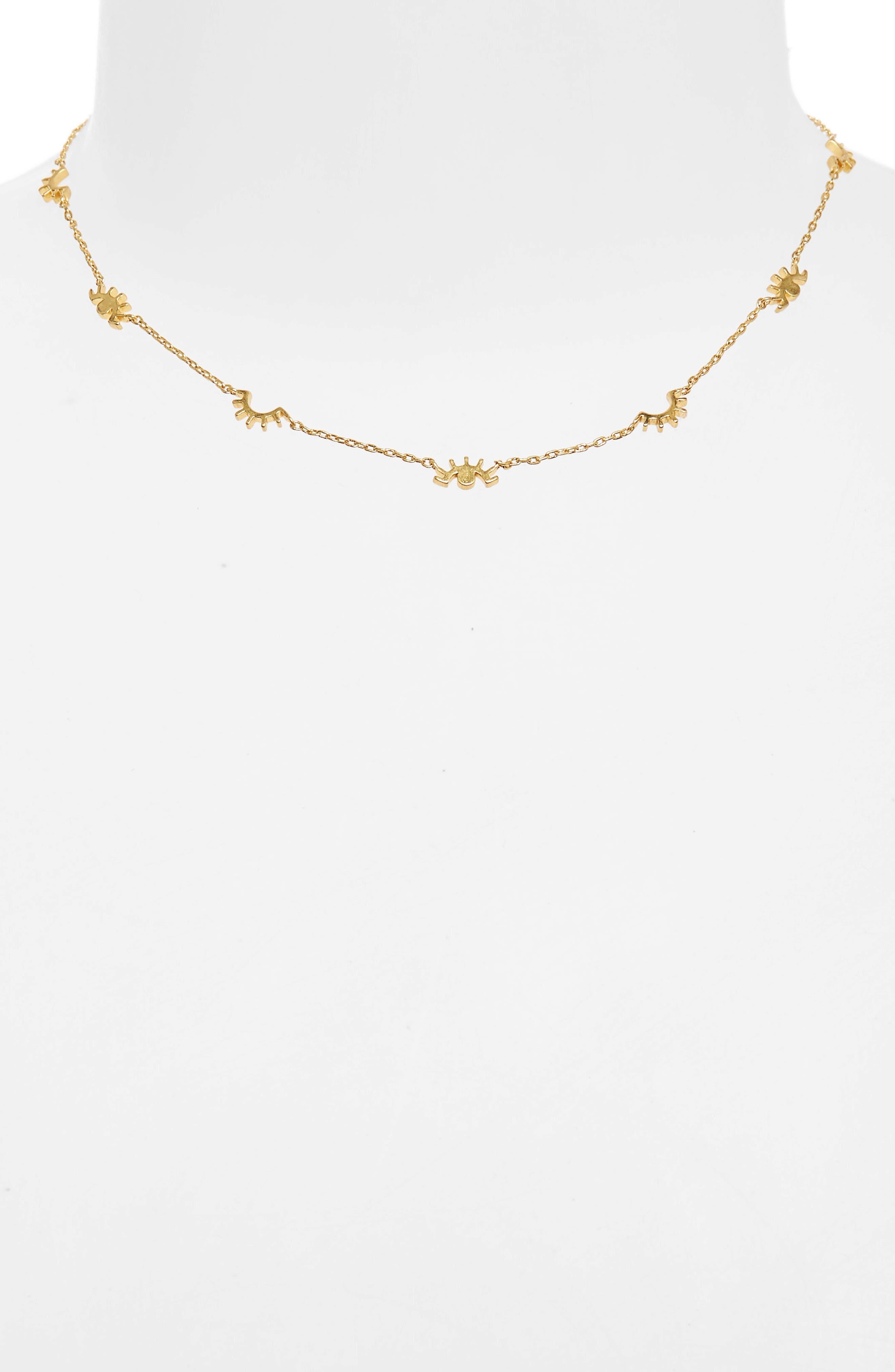 Eye Charm Necklace,                             Alternate thumbnail 2, color,                             Vintage Gold