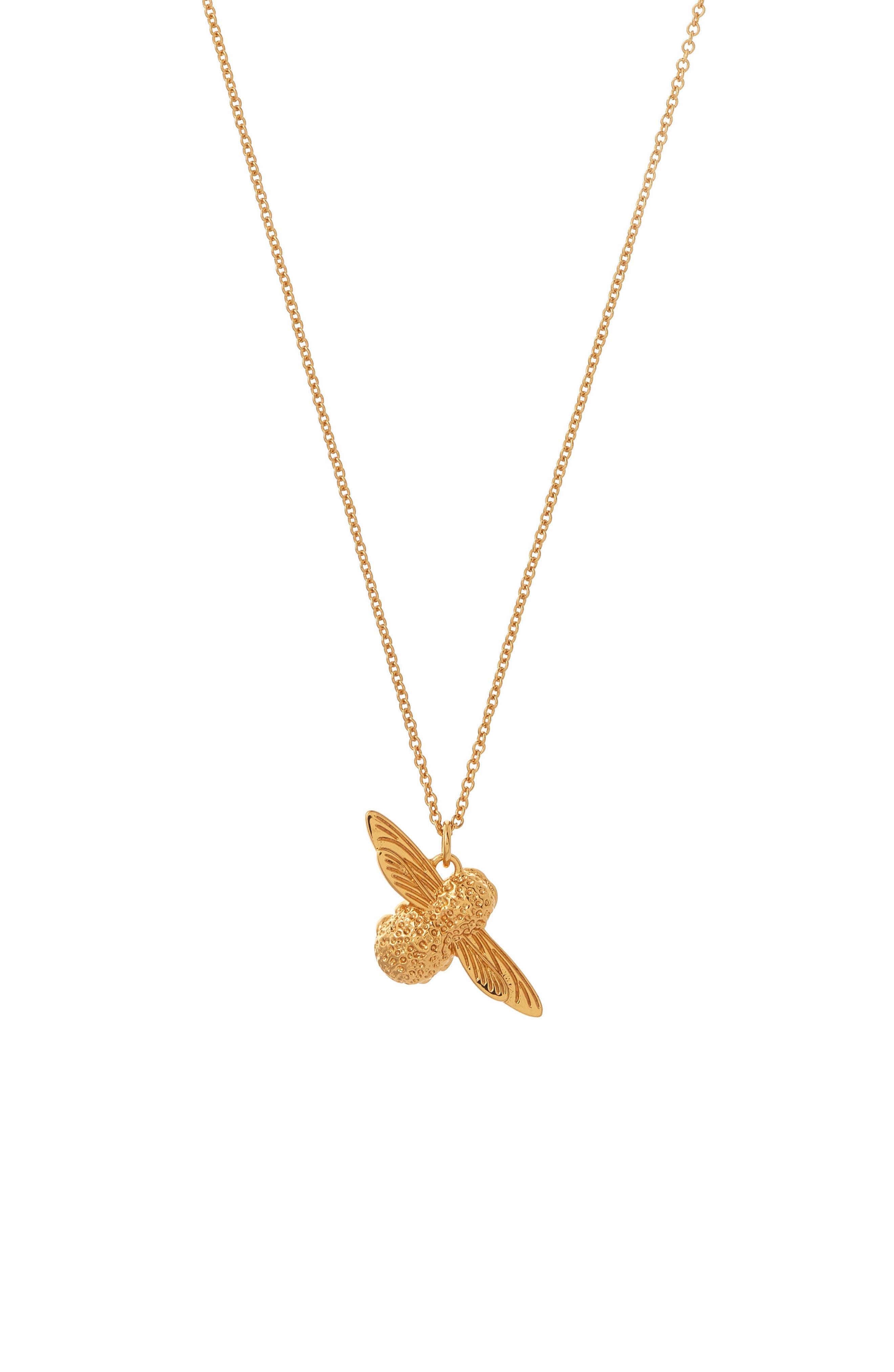 3D Bee Pendant Necklace,                         Main,                         color, Gold