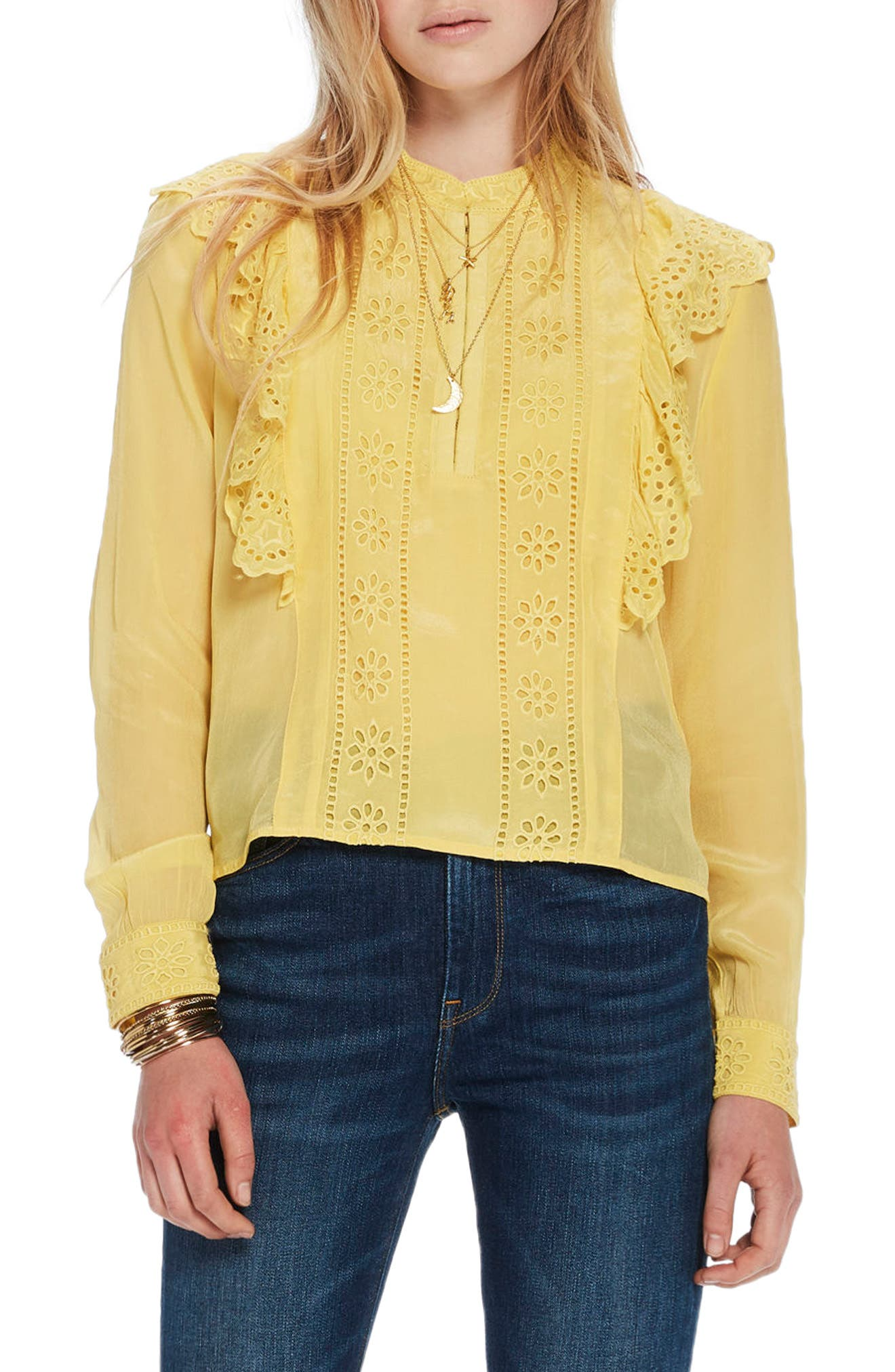 Ruffle Embroidered Eyelet Top,                         Main,                         color, 2118 Cheddar