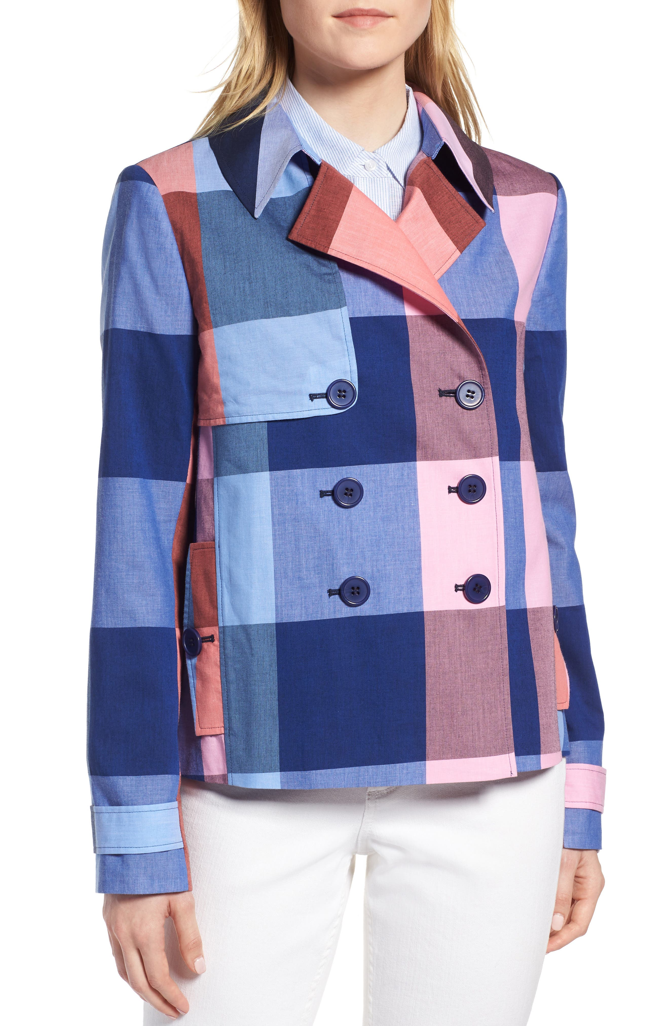 Double Breasted Plaid Cotton Blazer,                             Alternate thumbnail 4, color,                             Pink- Blue Plaid