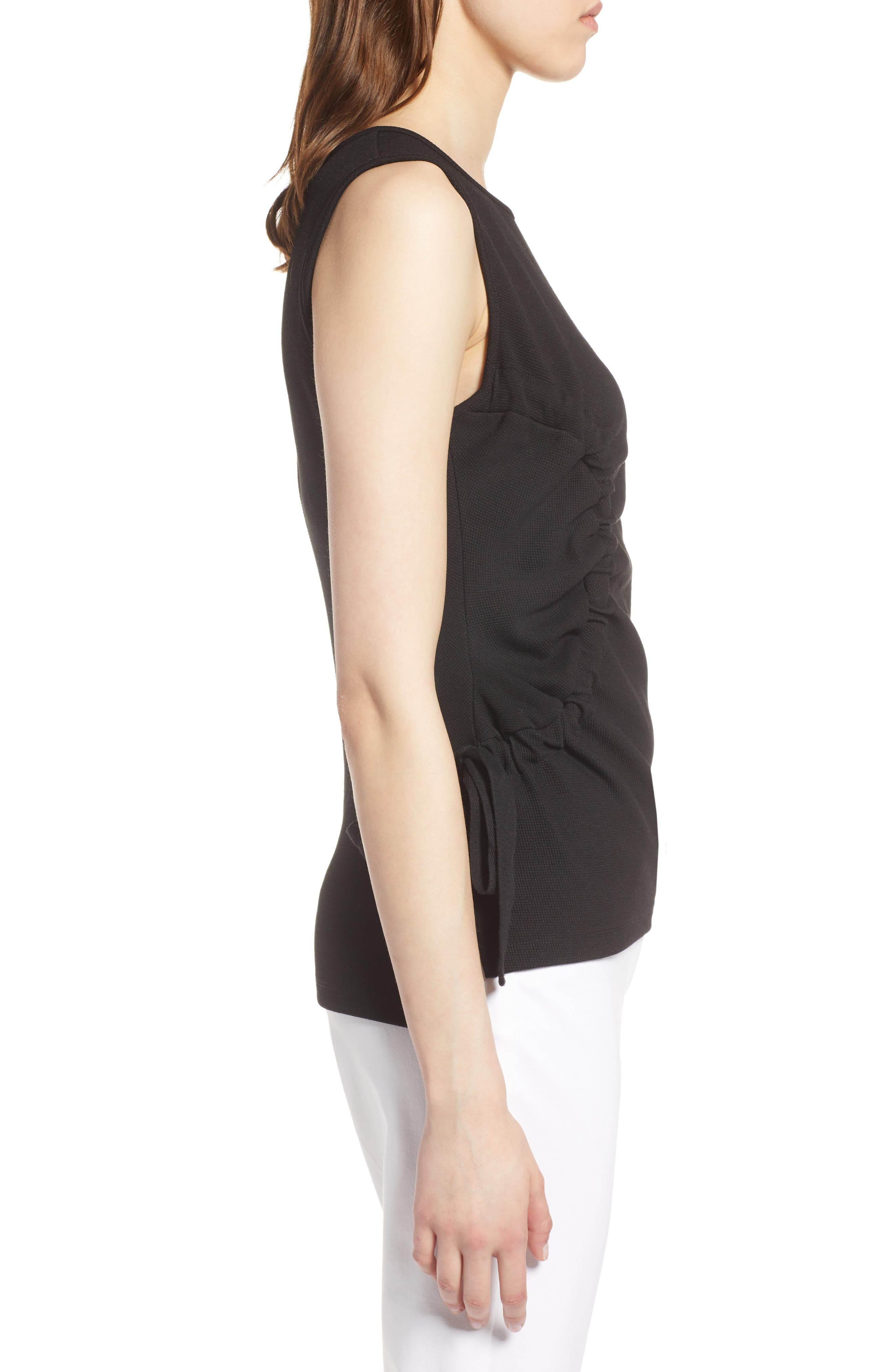 Ruched Tank Top,                             Alternate thumbnail 3, color,                             Black