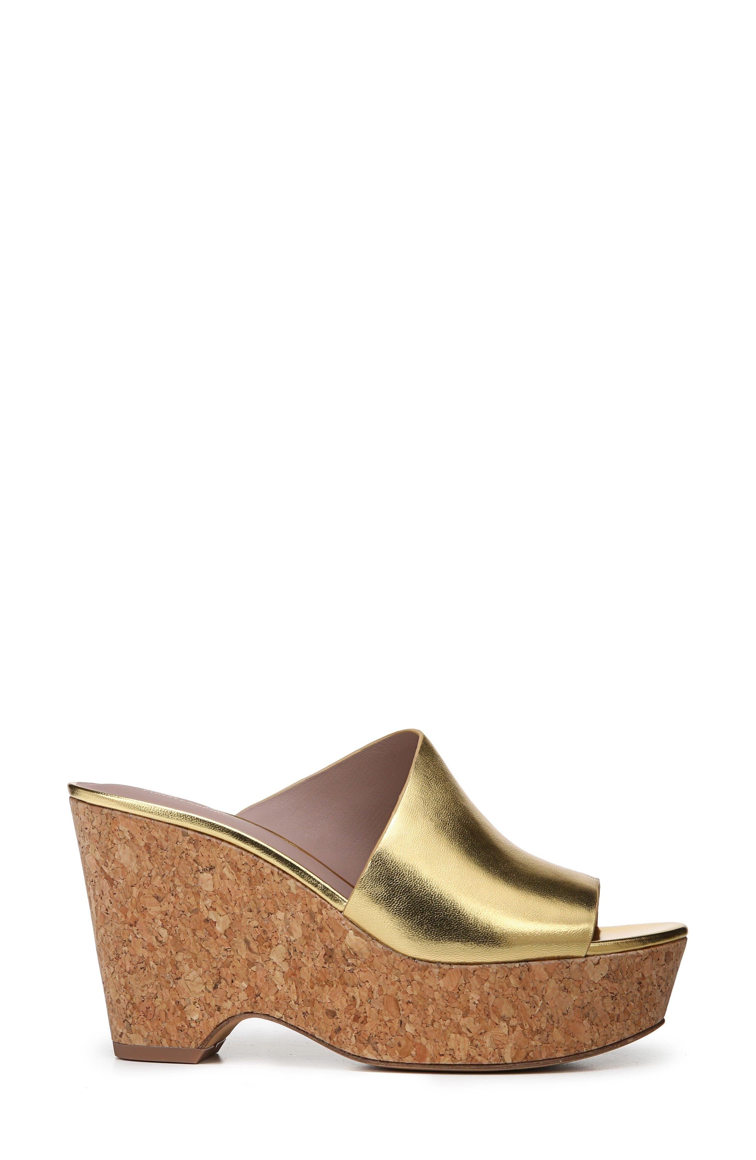 Bonnie Wedge Slide Sandal,                             Alternate thumbnail 3, color,                             Gold
