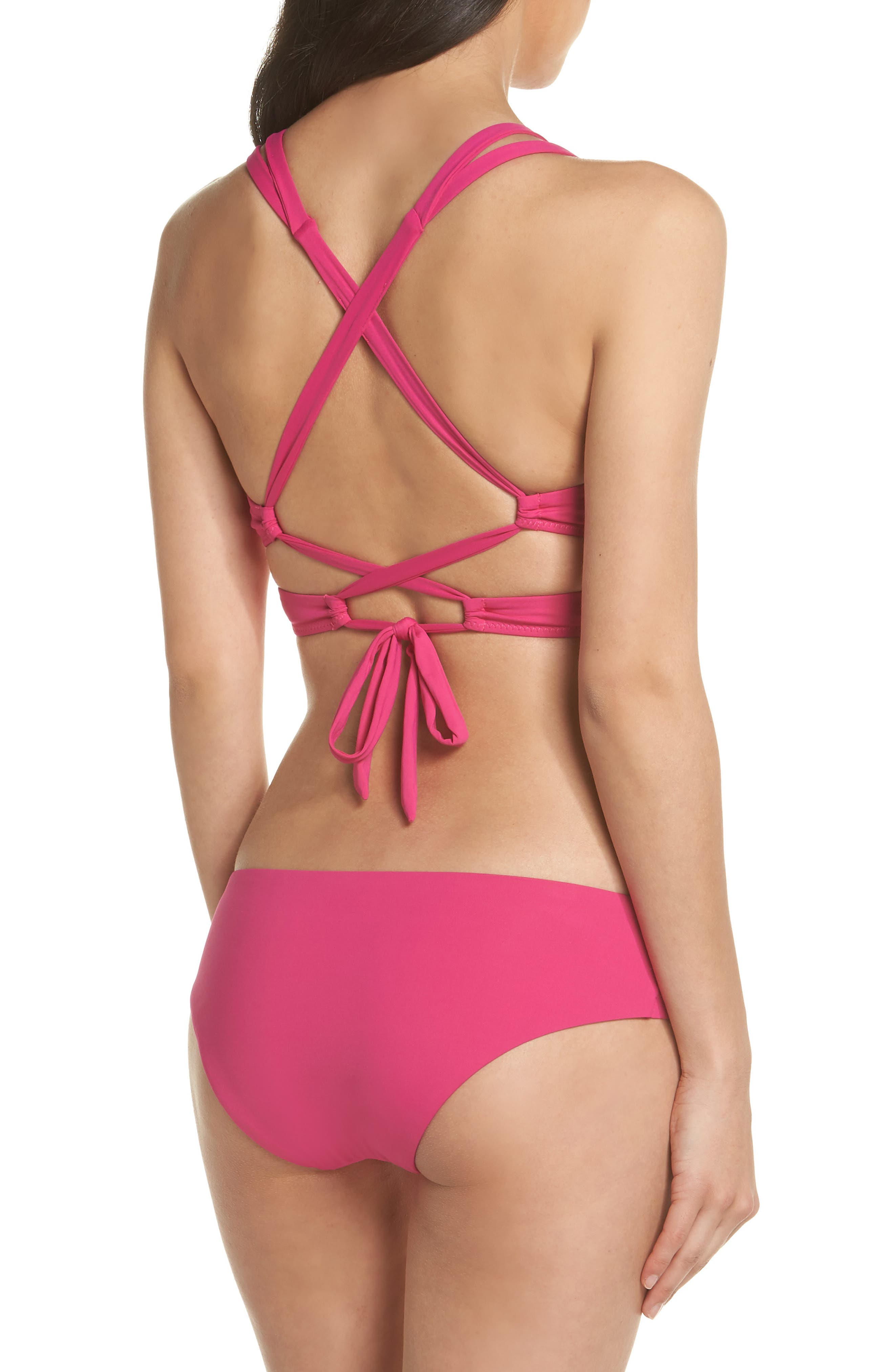 Color Code Wrap Bikini Top,                             Alternate thumbnail 7, color,                             Flamingo