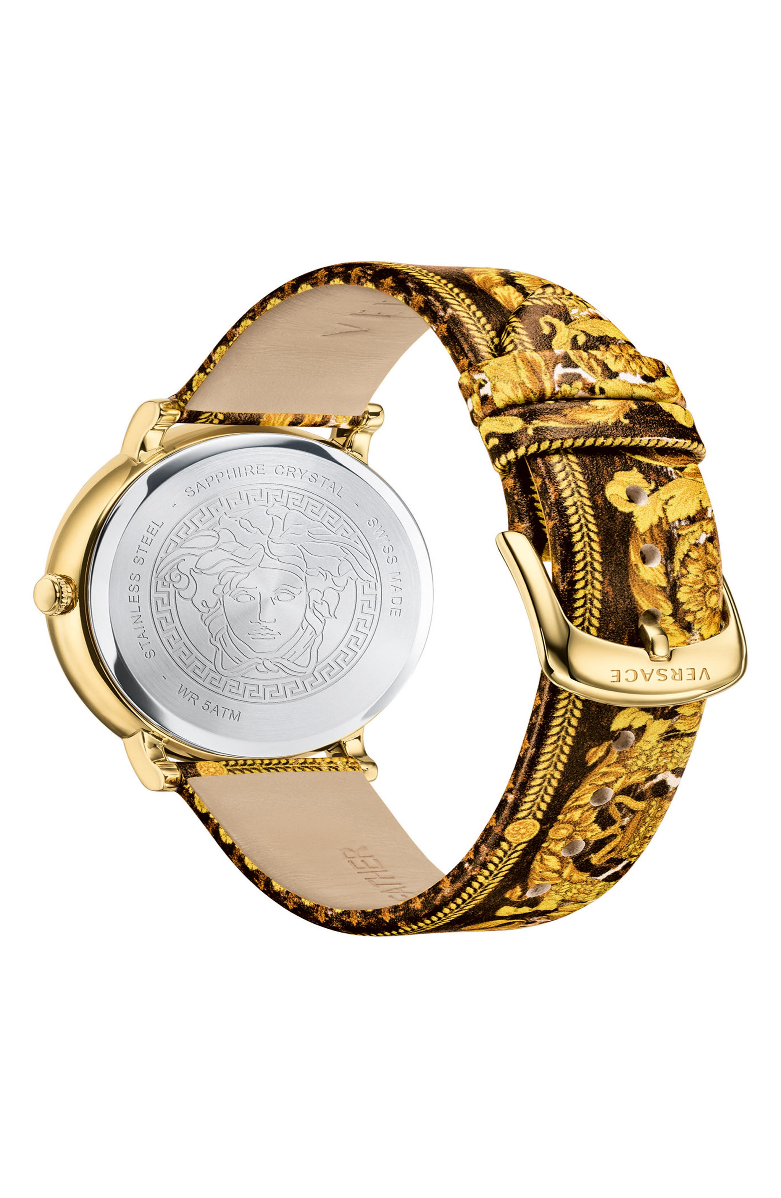 Tribute Collection Leather Strap Watch, 38mm,                             Alternate thumbnail 2, color,                             Black/ Gold