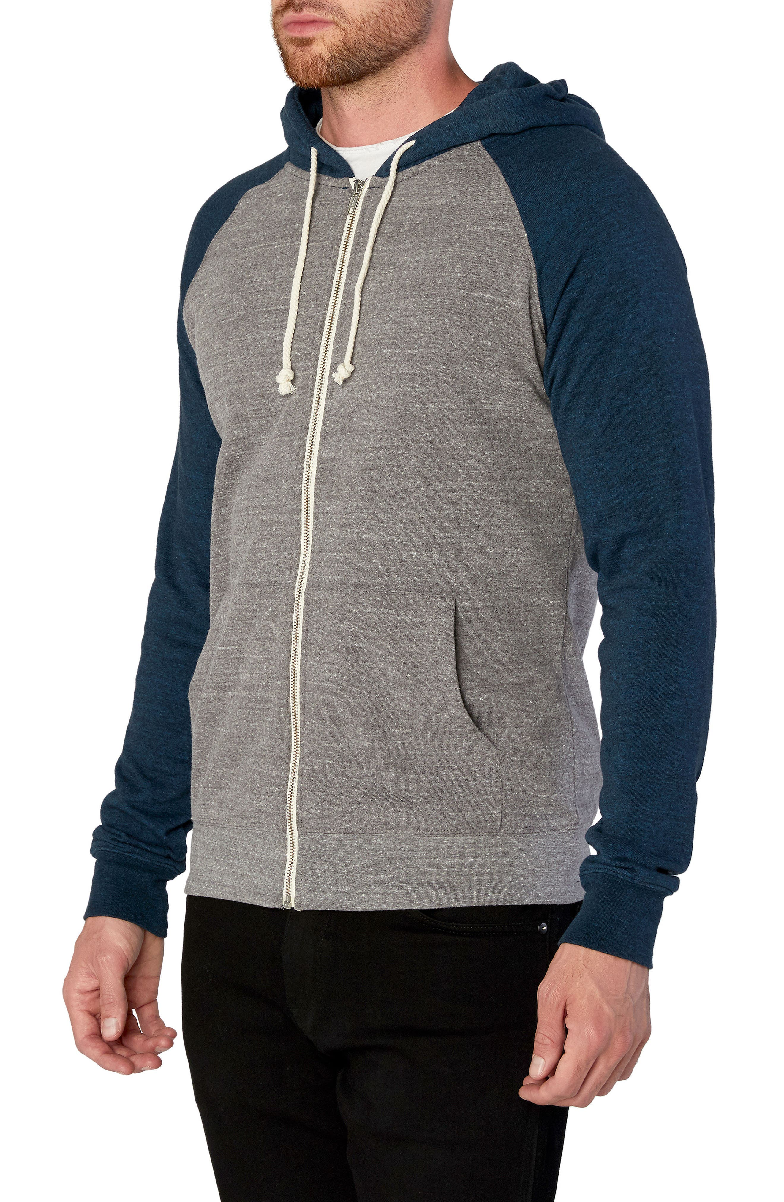 Threads for Thought Raglan Hoodie,                             Alternate thumbnail 3, color,                             Heather Grey/ Midnight