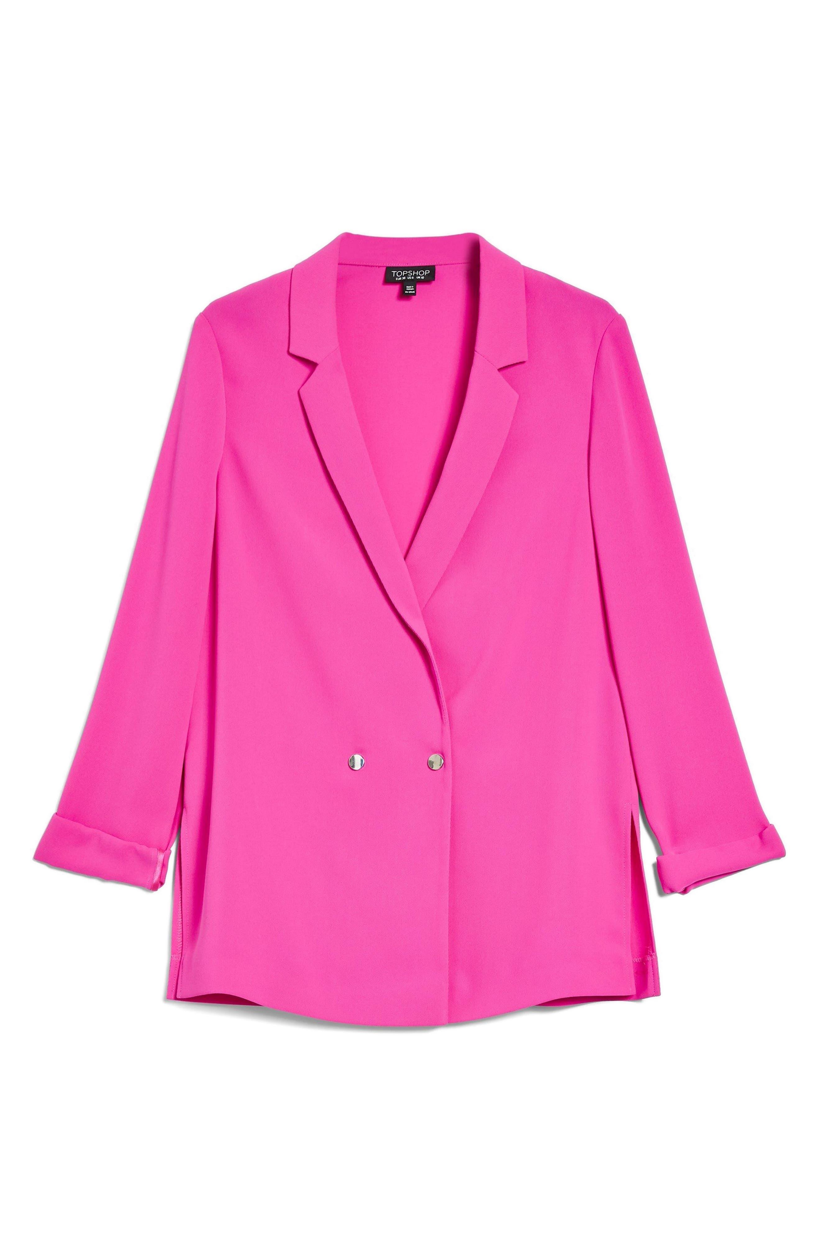 Ava Double Breasted Jacket,                             Alternate thumbnail 4, color,                             Fuschia