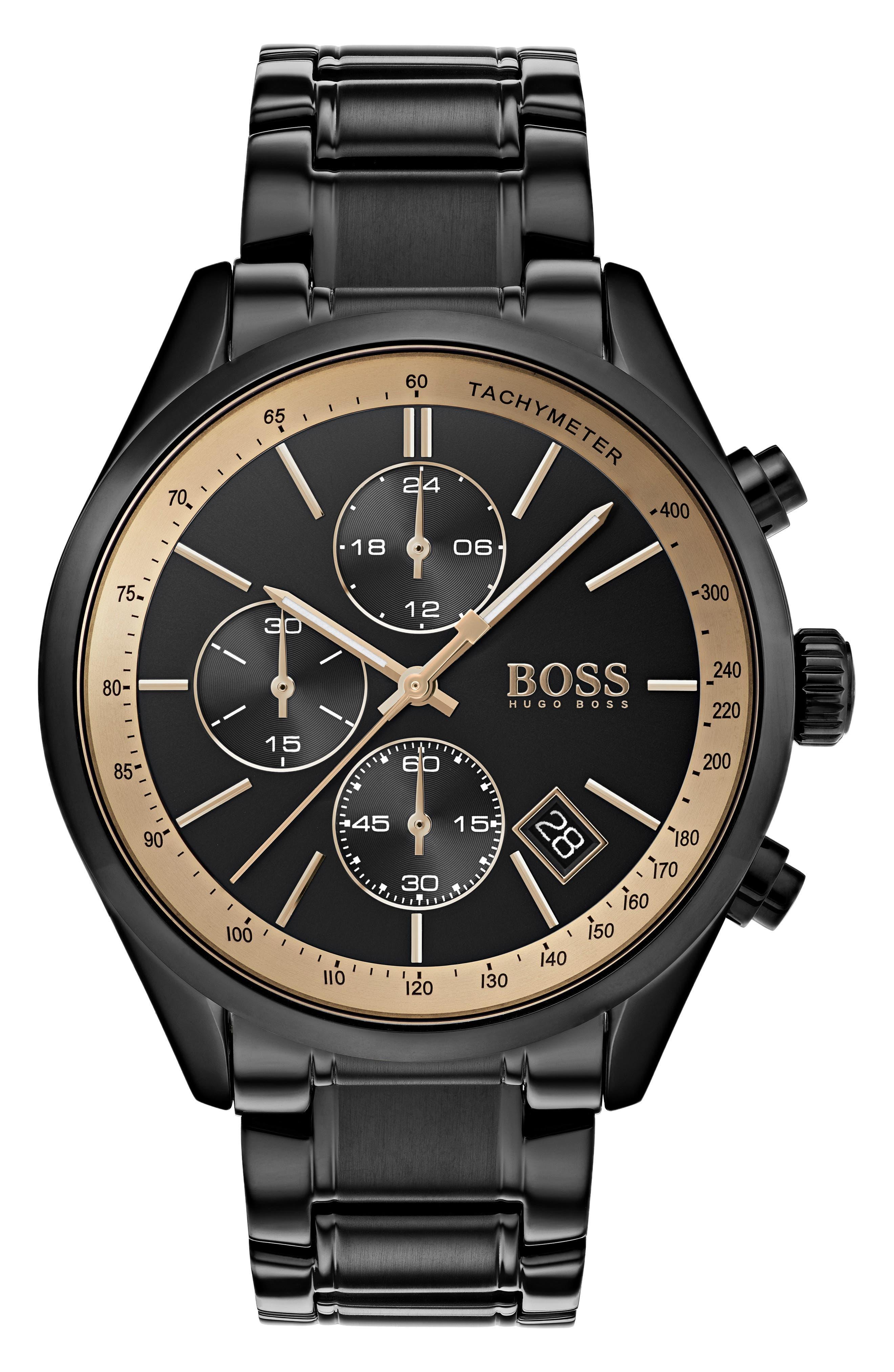 Grand Prix Chronograph Bracelet Watch, 44mm,                             Main thumbnail 1, color,                             Black