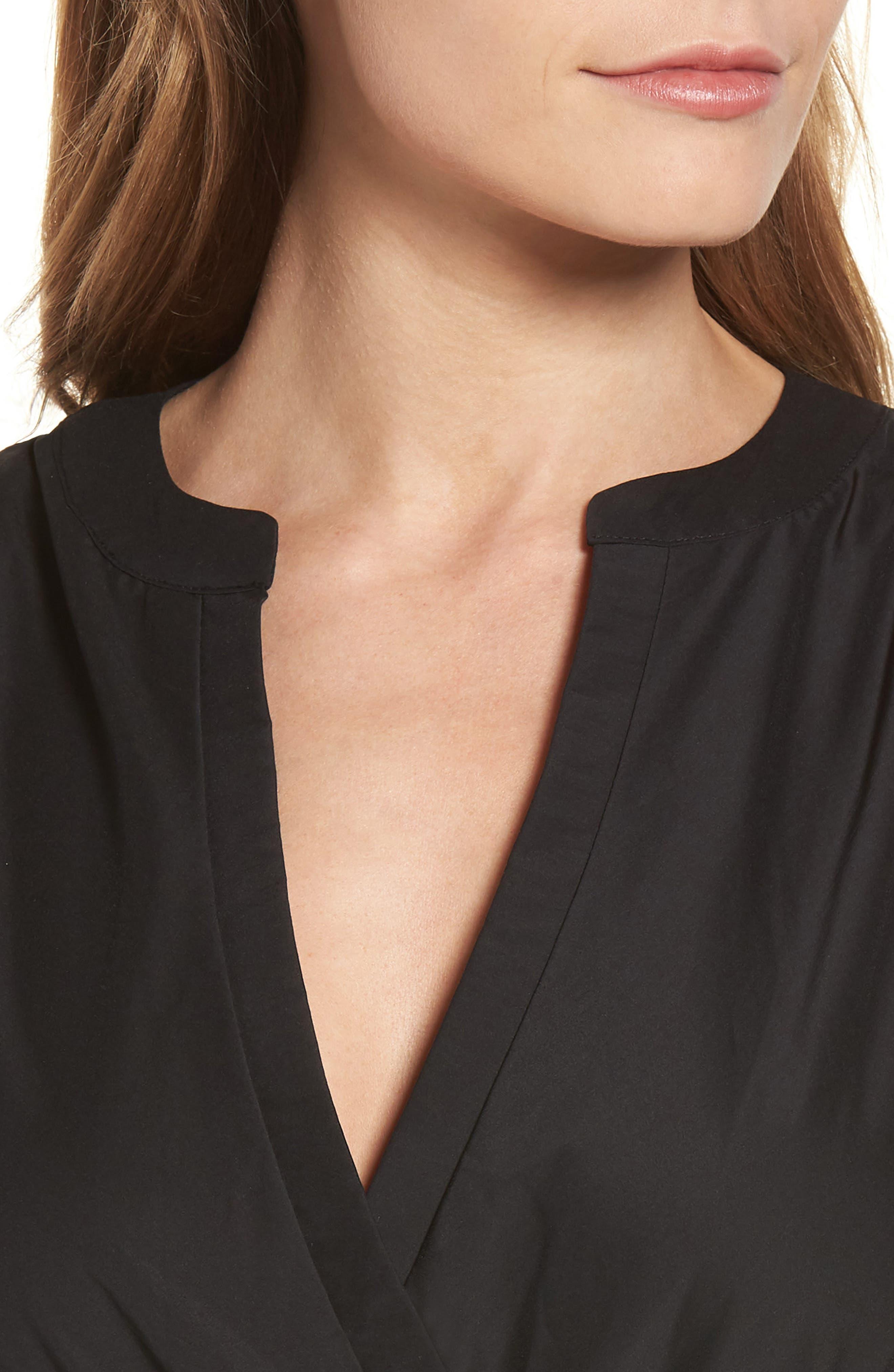 Tiered Maxi Dress,                             Alternate thumbnail 4, color,                             Black Solid Poplin