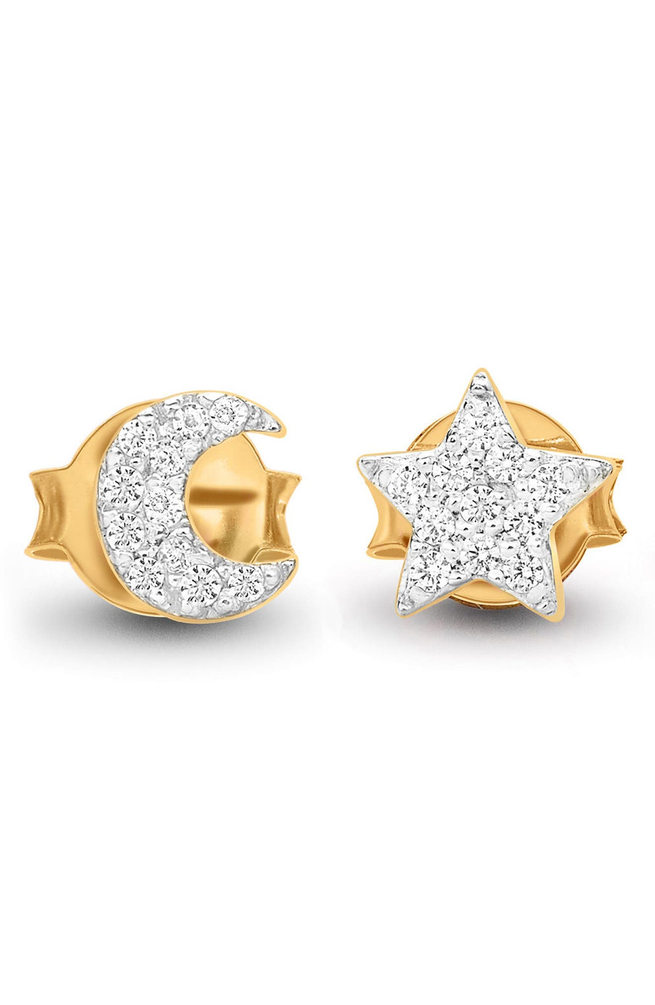 PAVE MOON & STAR STUD EARRINGS