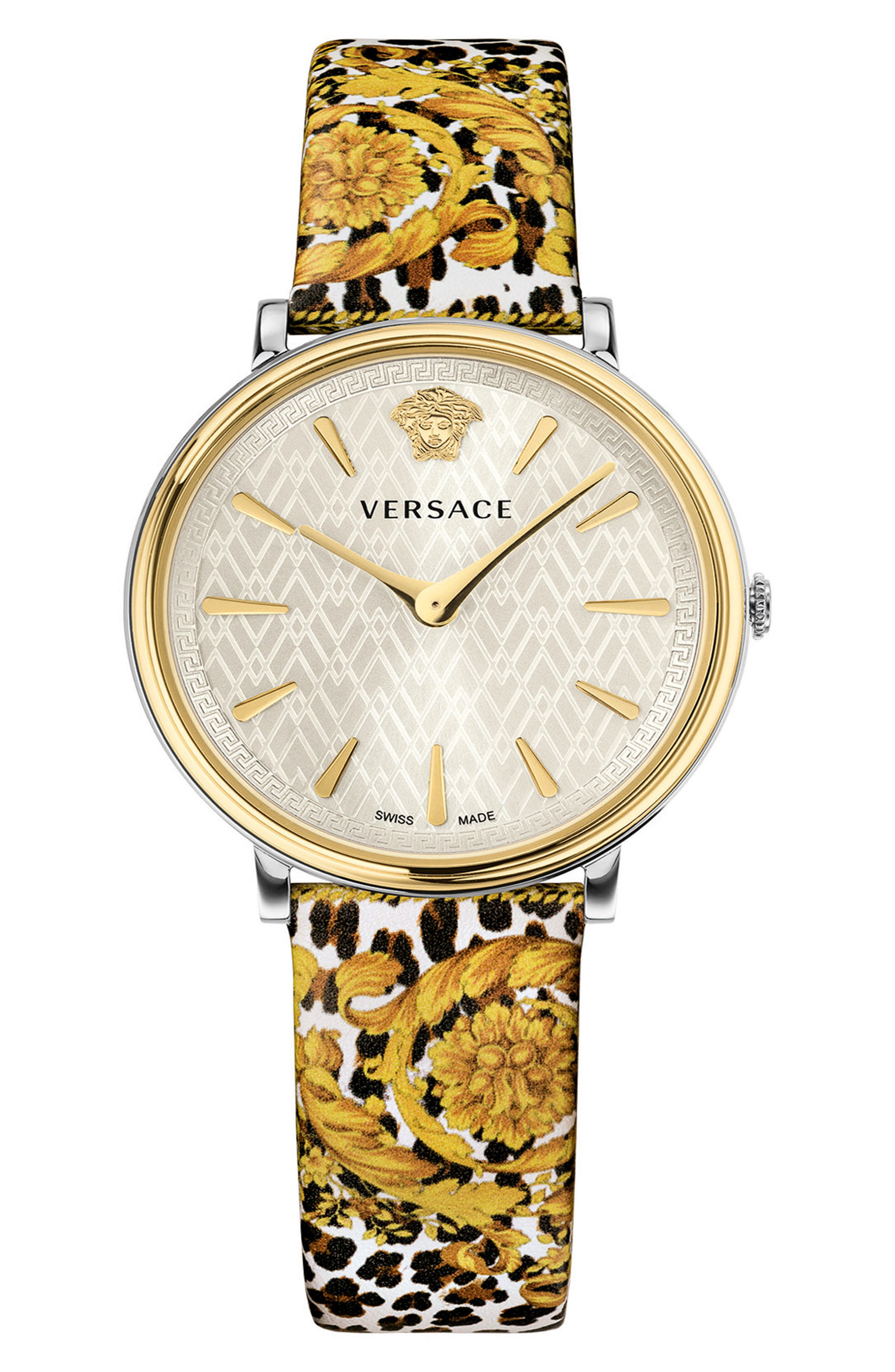 Versace Tribute Collection Leather Strap Watch, 38mm
