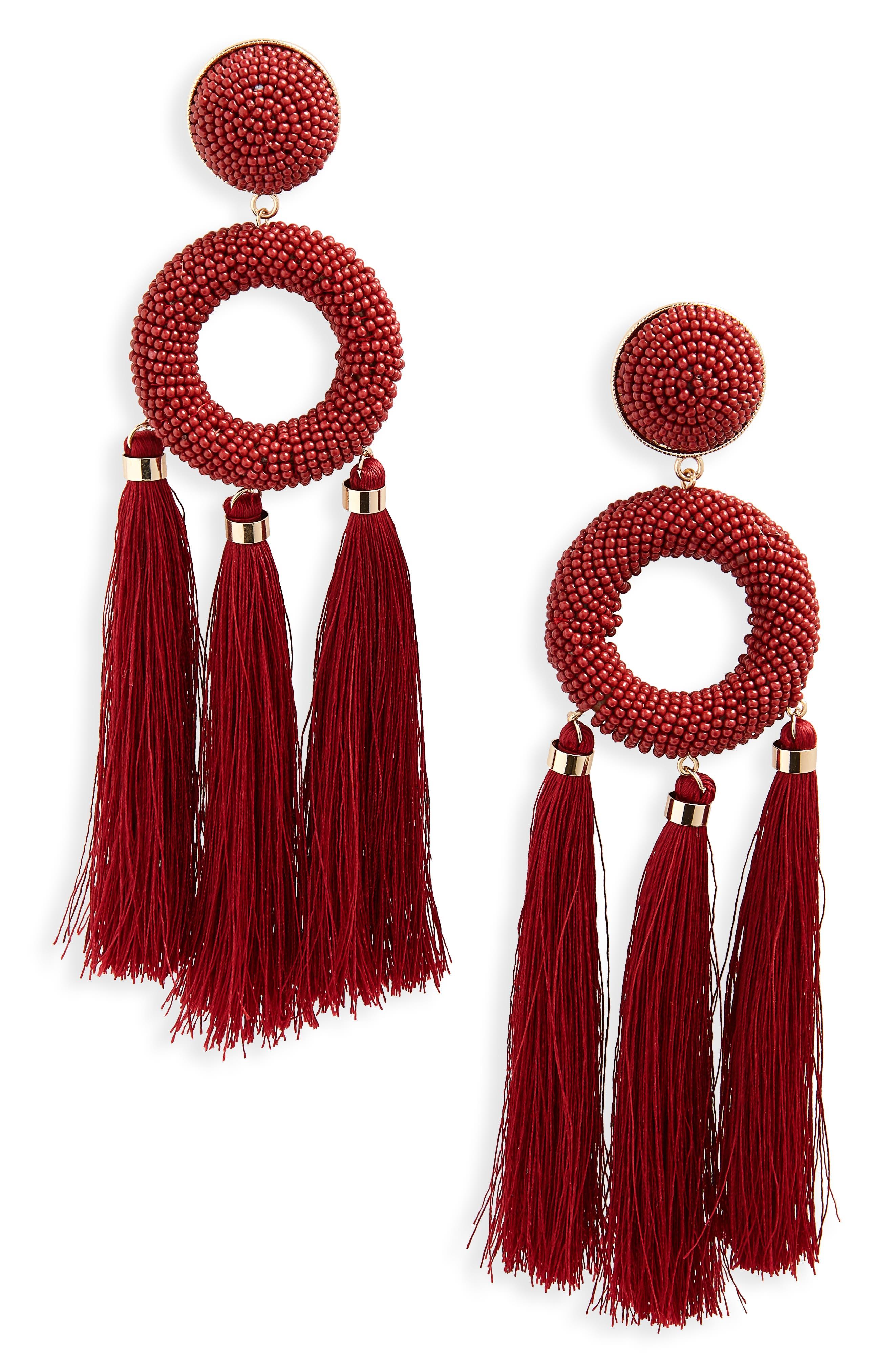 Seed Bead Tassel Earrings,                         Main,                         color, Red