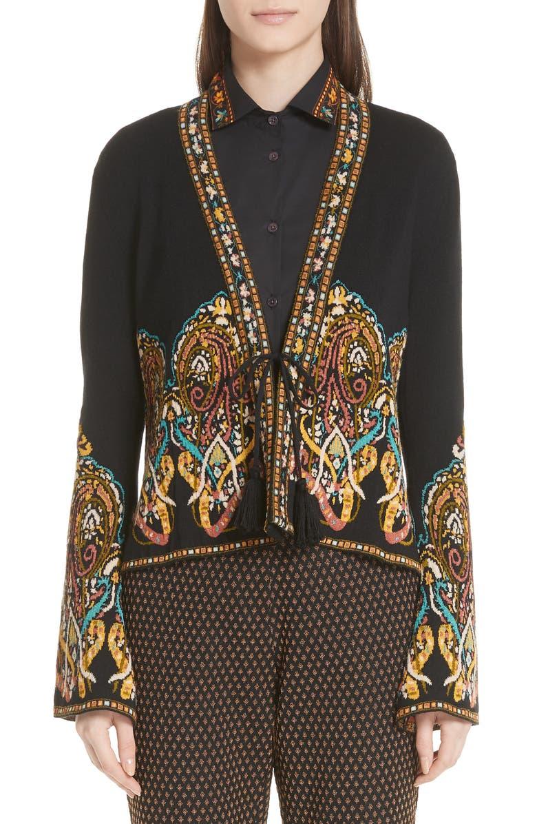 Tie Front Paisley Jacquard Knit Jacket