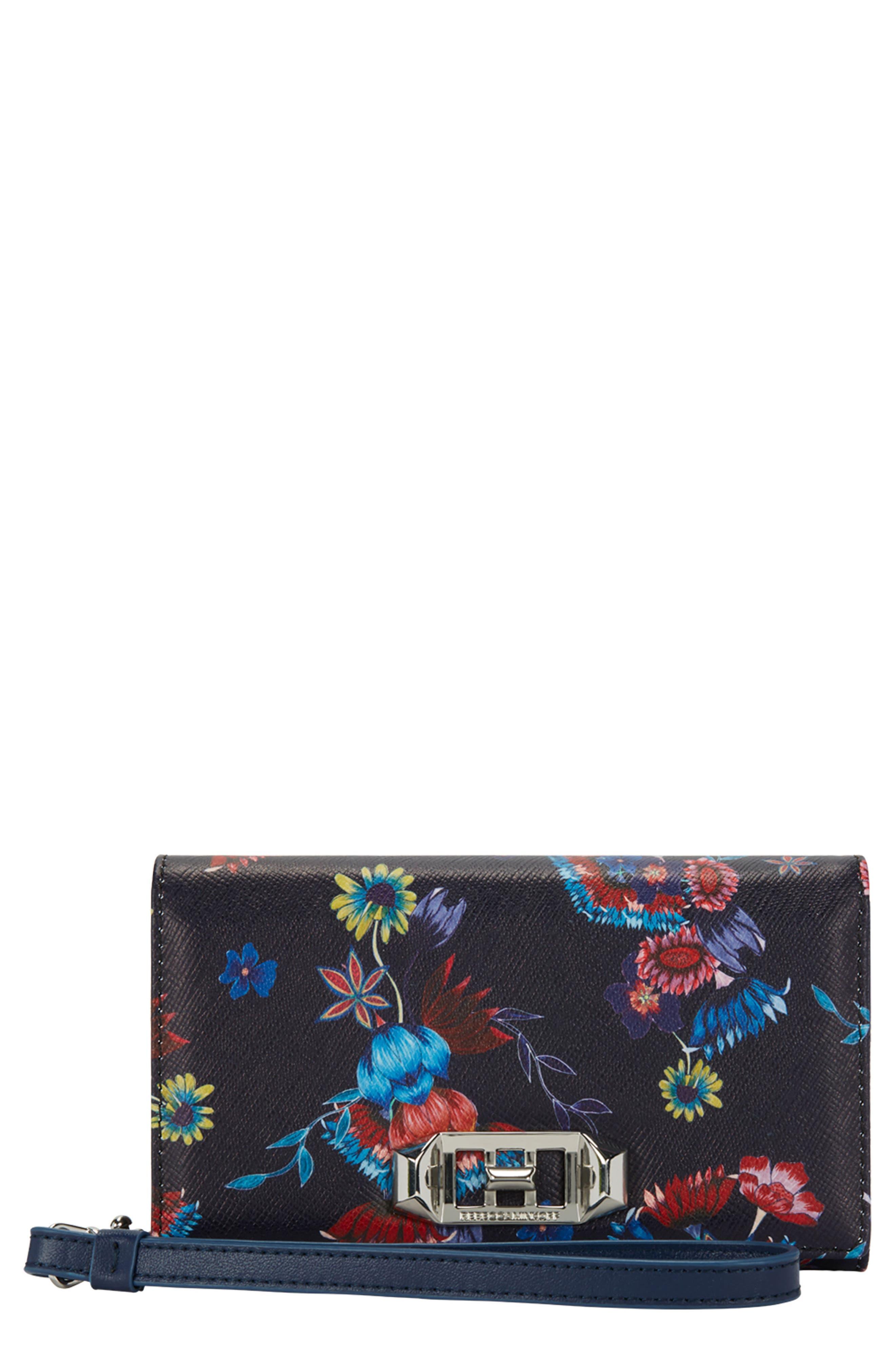 Love Lock iPhone 7/8 & 7/8 Plus Leather Wristlet Folio,                         Main,                         color, Navy