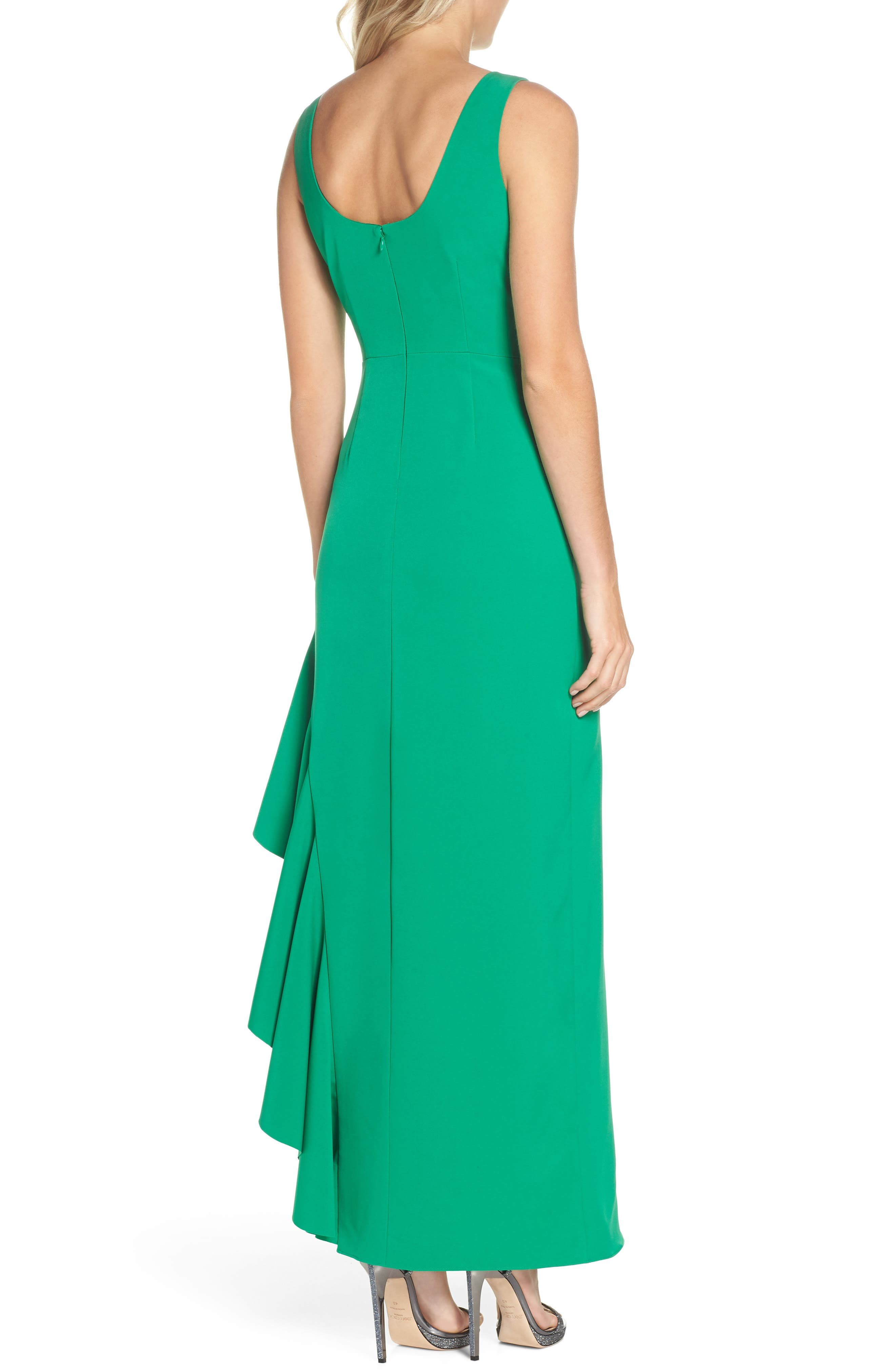 Ruffle Gown,                             Alternate thumbnail 2, color,                             Green