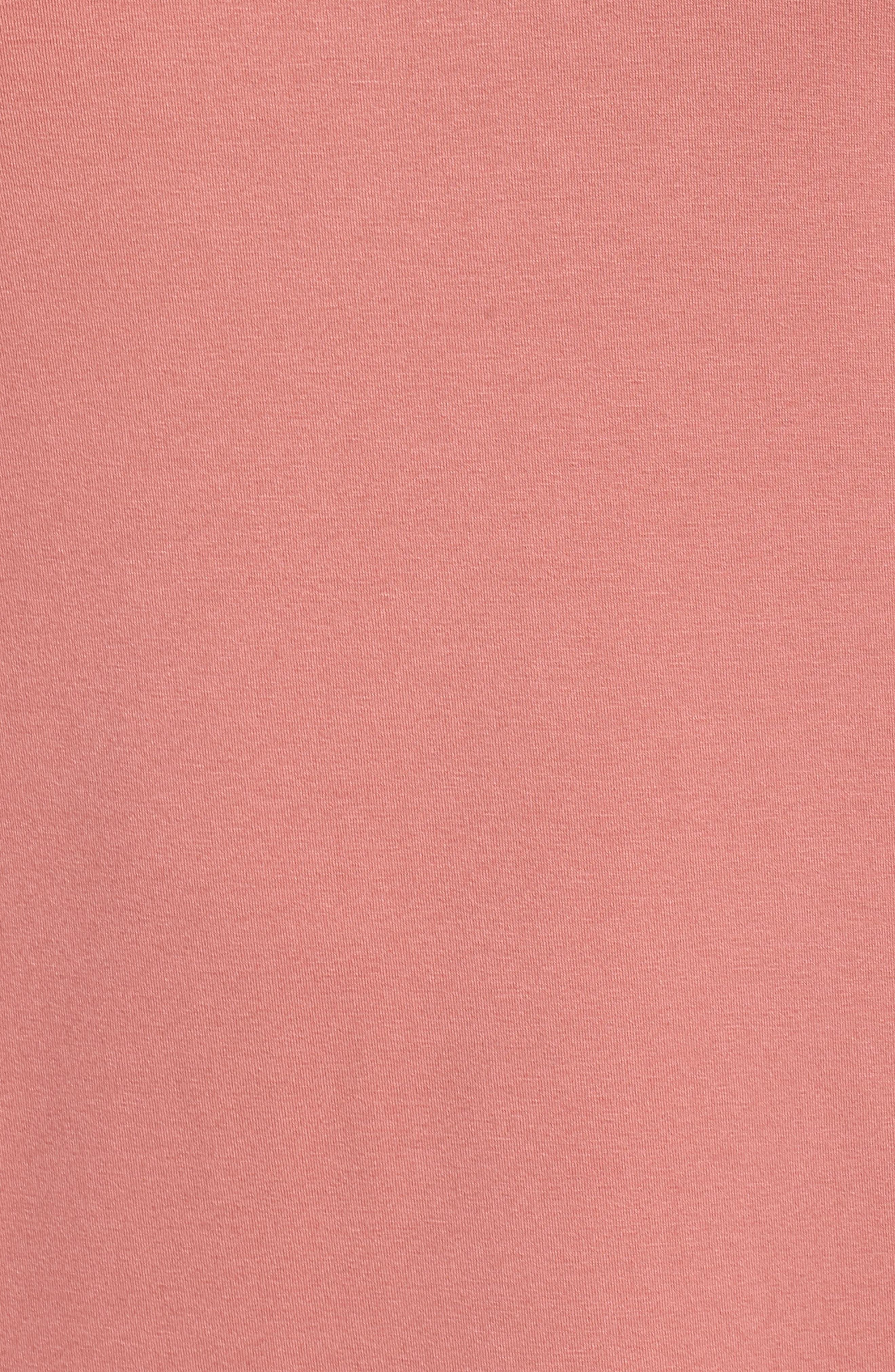 Lace-Up Shoulder T-Shirt Dress,                             Alternate thumbnail 6, color,                             Claret Shadow