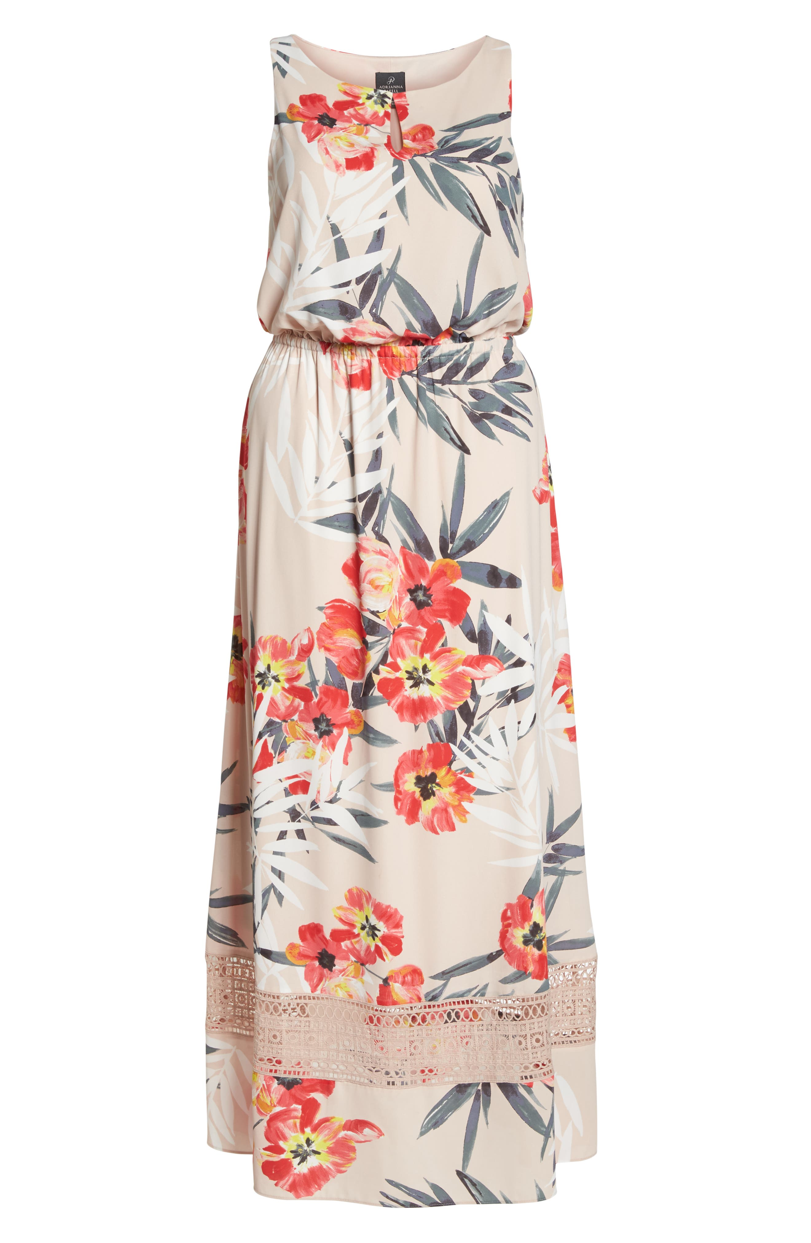 Tropical Breeze Floral Maxi Dress,                             Alternate thumbnail 7, color,                             Geranium Multi