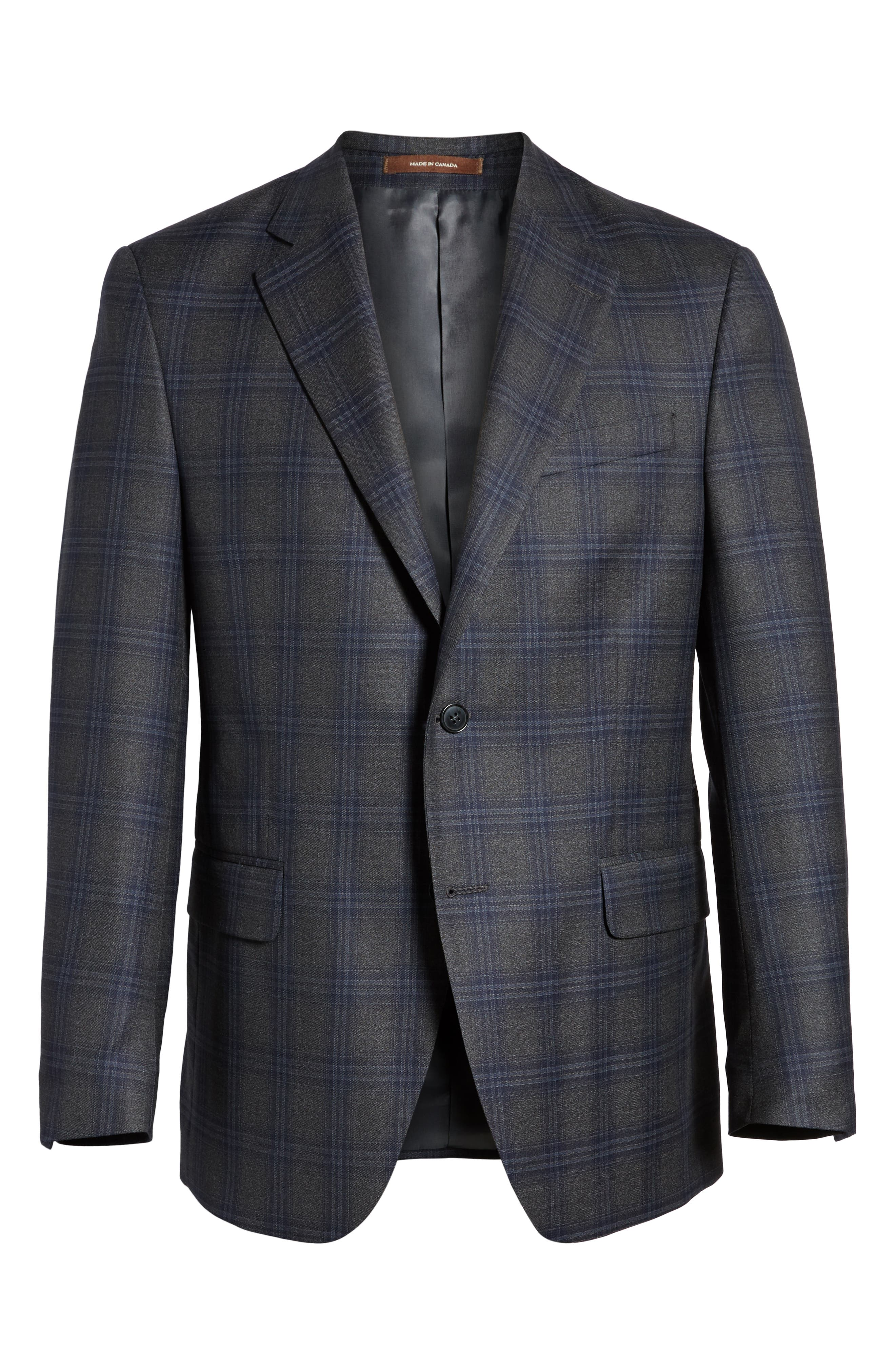 Classic Fit Plaid Wool Sport Coat,                             Alternate thumbnail 6, color,                             Charcoal