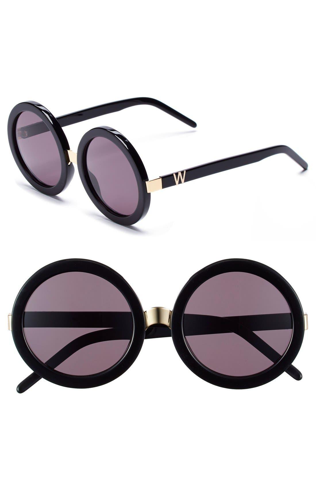 'Malibu' 56mm Round Sunglasses,                         Main,                         color, Black/ Gold/ Grey Gradient